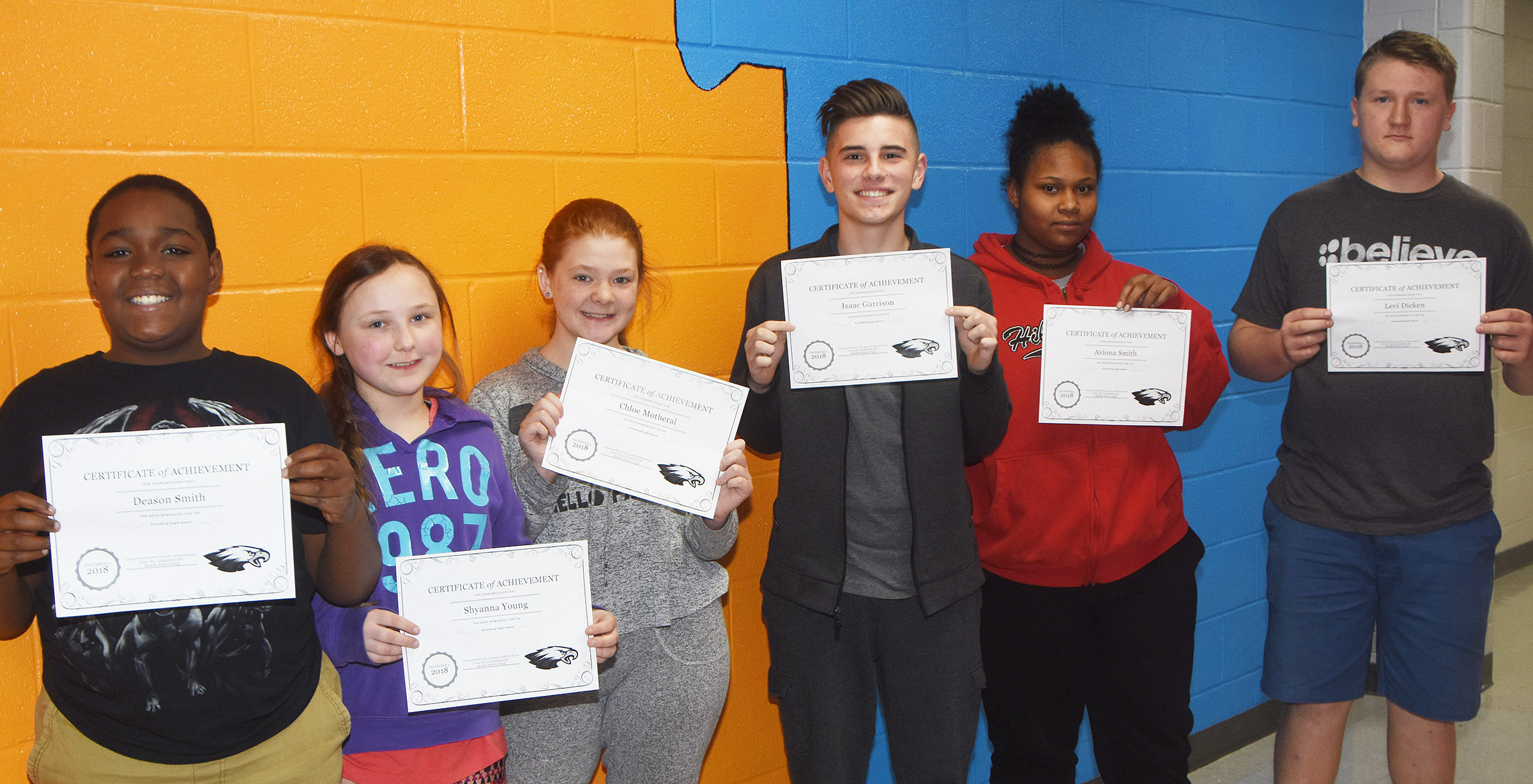 From left are sixth-graders Deason Smith and Shyanna Young, seventh-graders Chloe Motheral and Isaac Garrison and eighth-graders Aviona Smith and Jake Dicken.