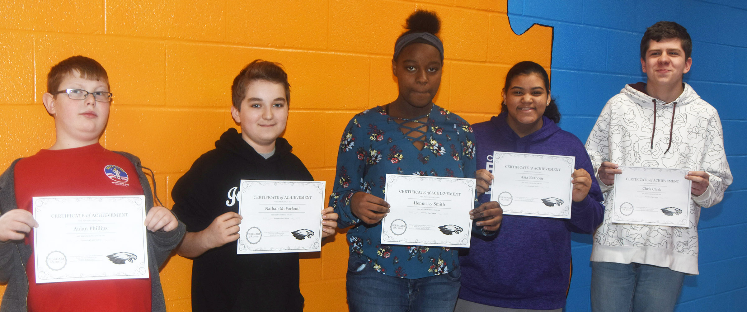 CMS Exceeding Eagles for the week of Feb. 25 are sixth-grader Aidan Phillips, seventh-graders Nathan McFarland and Hennessy Smith and eighth-graders Asia Barbour and Chris Clark.