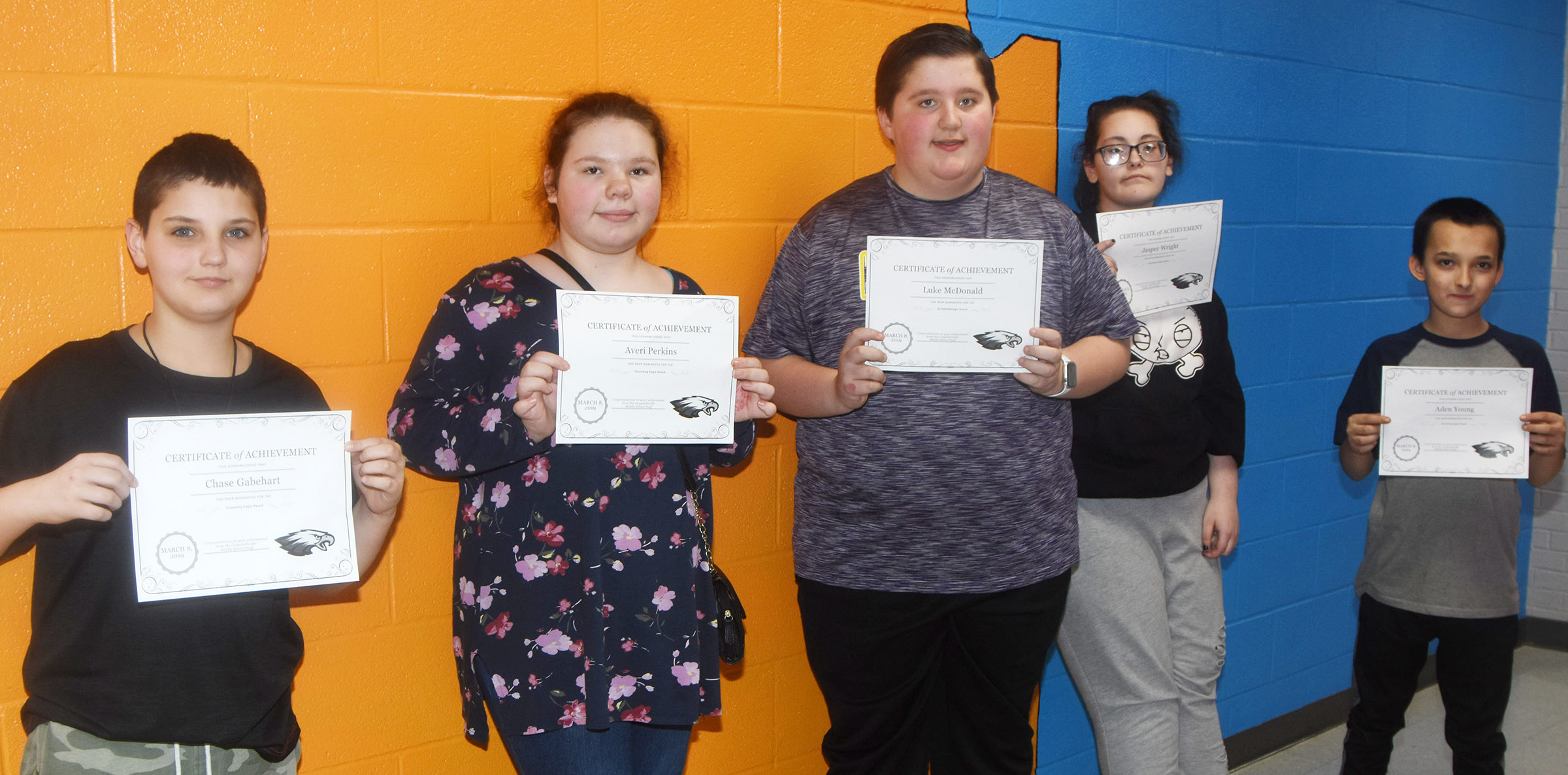 CMS Exceeding Eagles for the week of March 4 are, from left, sixth-graders Chase Gabehart and Averi Perkins, seventh-graders Luke McDonald and Jasper Wright and eighth-grader Aden Young. Absent from the photo is eighth-grader Bre Humphress.