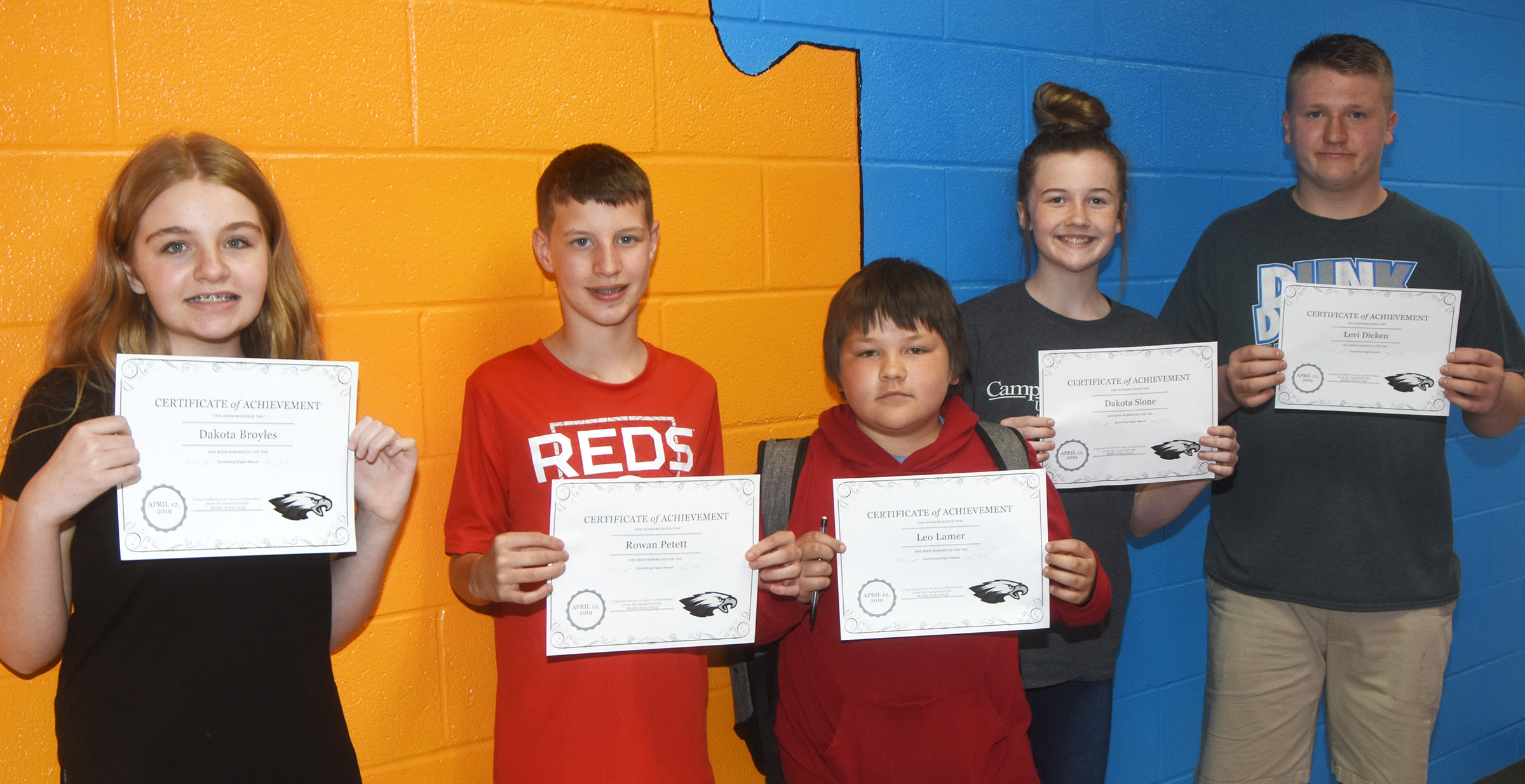 CMS Exceeding Eagles for the week of April 8 are, from left, sixth-graders Dakota Broyles and Rowan Petett, seventh-grader Leo Lamer and eighth-graders Dakota Slone and Levi Dicken. Absent from the photo is seventh-grader Piper Ritchie.