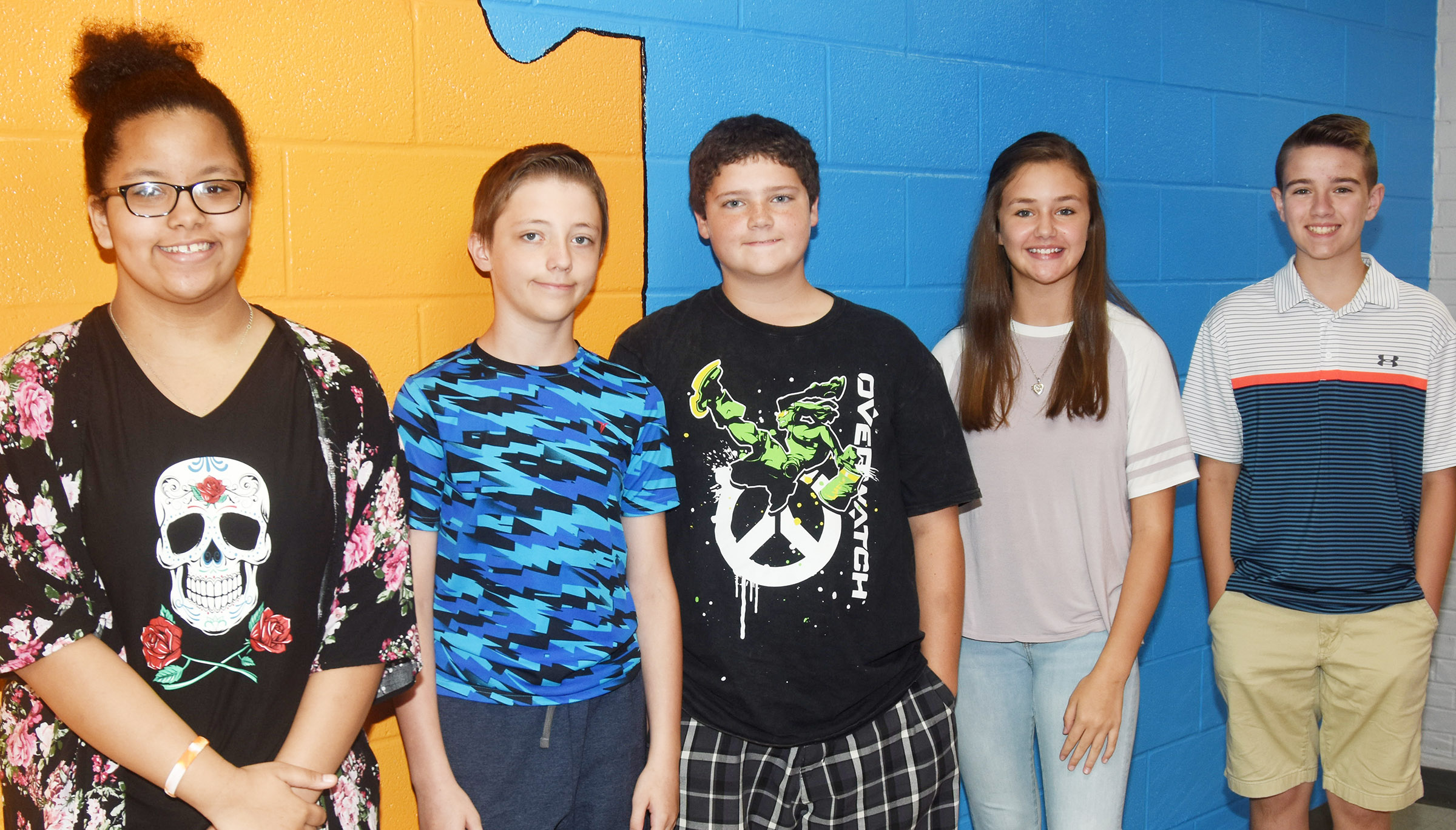 CMS Exceeding Eagles for the week of Sept. 10 are, from left, seventh-grader Kiara Graves, sixth-grader Jaxon Garrett, seventh-grader Johnathon Foster and eighth-graders Haylee Allen and Bryce Newton. Absent from the photo is sixth-grader Mellany Parker.