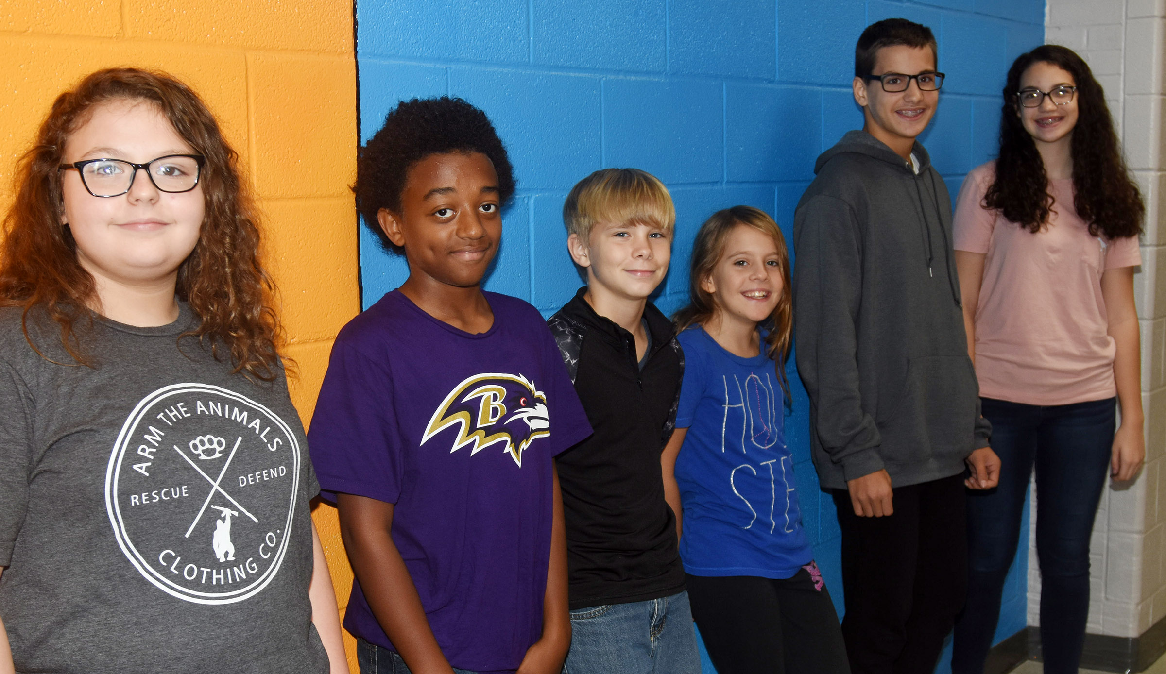 CMS Exceeding Eagles for the week of Sept. 17 are, from left, seventh-grader Chloe Mitchell, eighth-grader Zamar Owens, sixth-graders Thomas Tungate and Ellie Wise, seventh-grader Dalton Morris and eighth-grader Mary Russell.