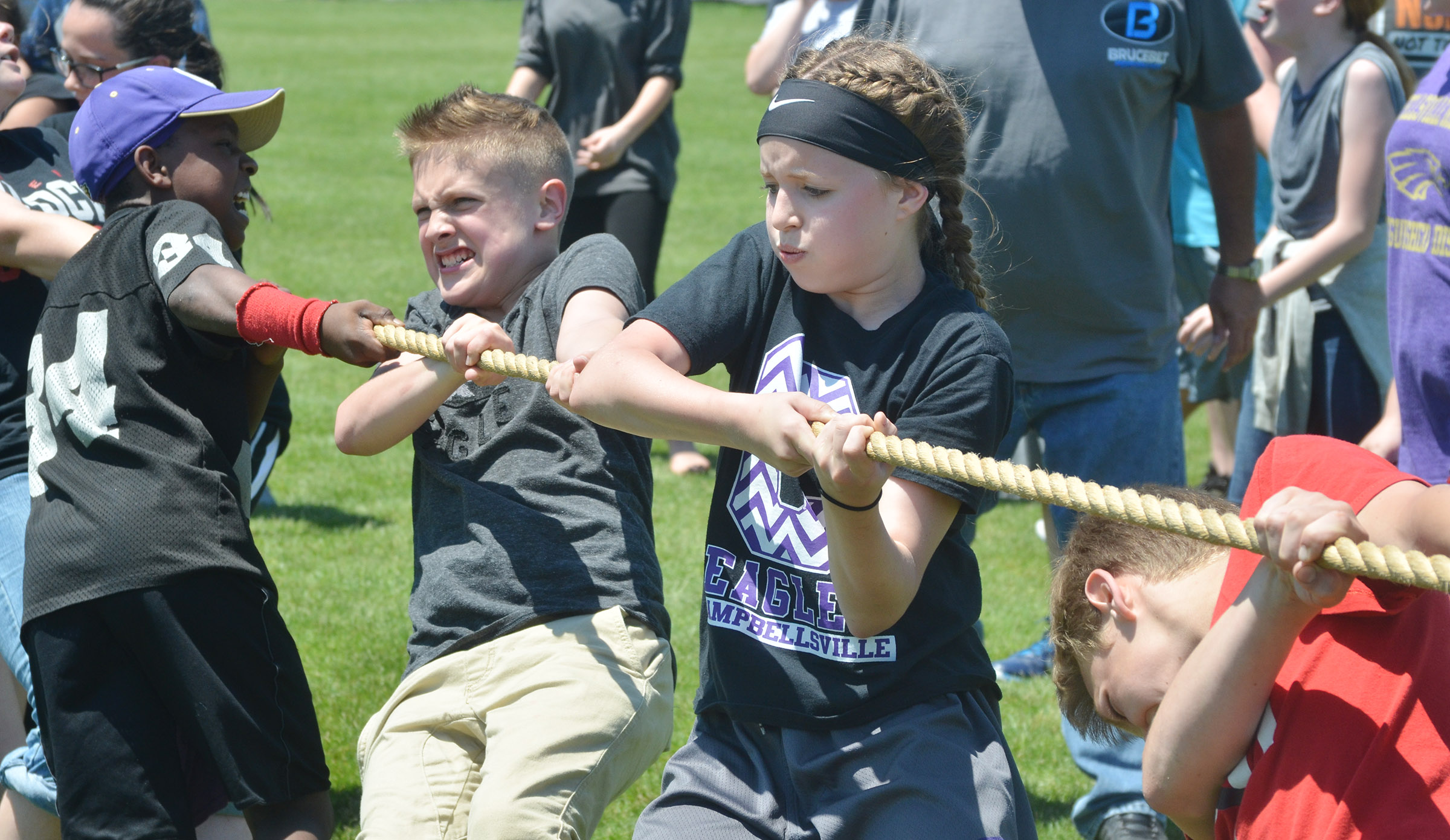 CMS seventh-grader Rylee Petett and her classmates compete in tug of war.