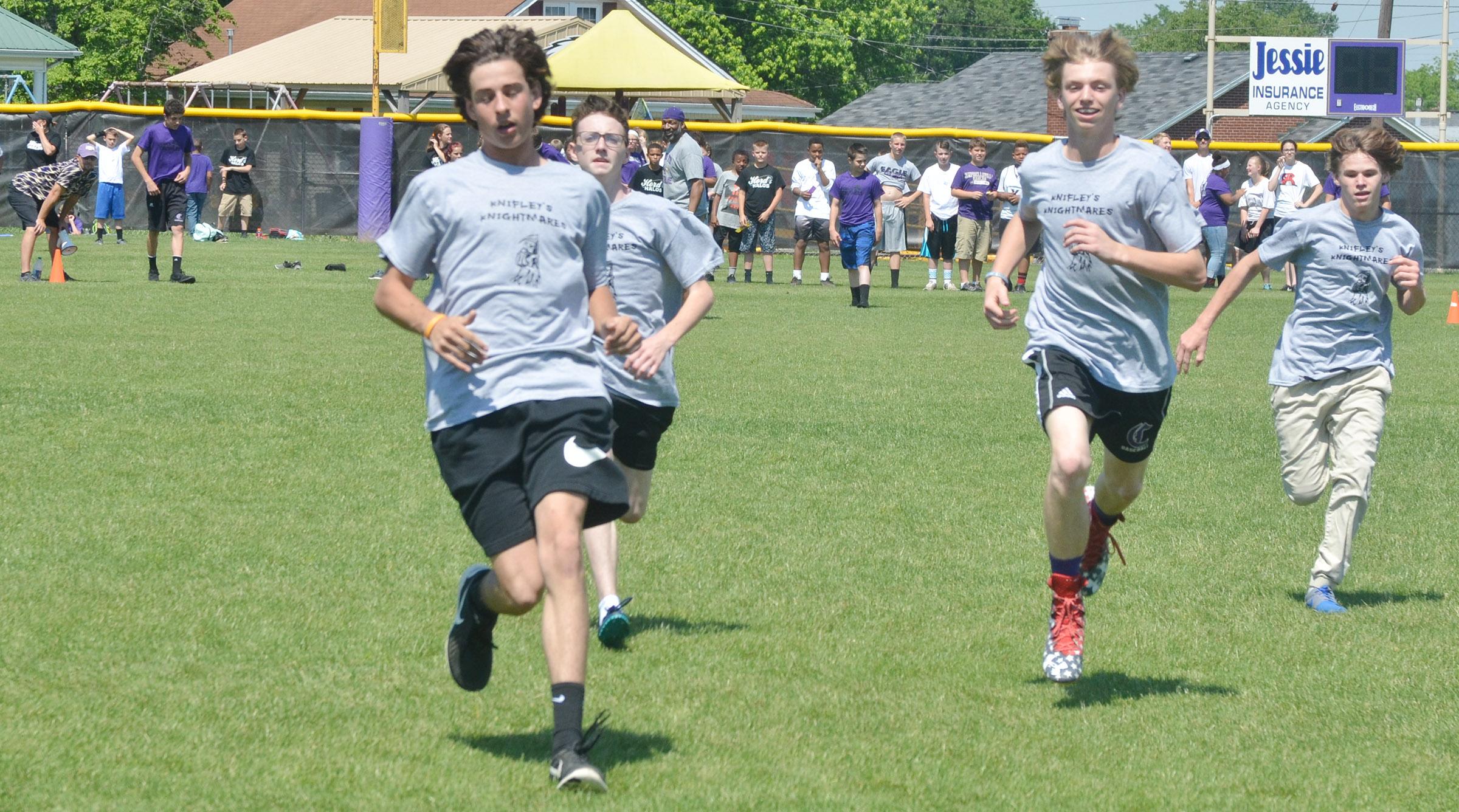 From left, CMS eighth-graders John Orberson, Jonathan Sparks, Arren Hash and Dalton Reynolds compete in the 50-yard dash.