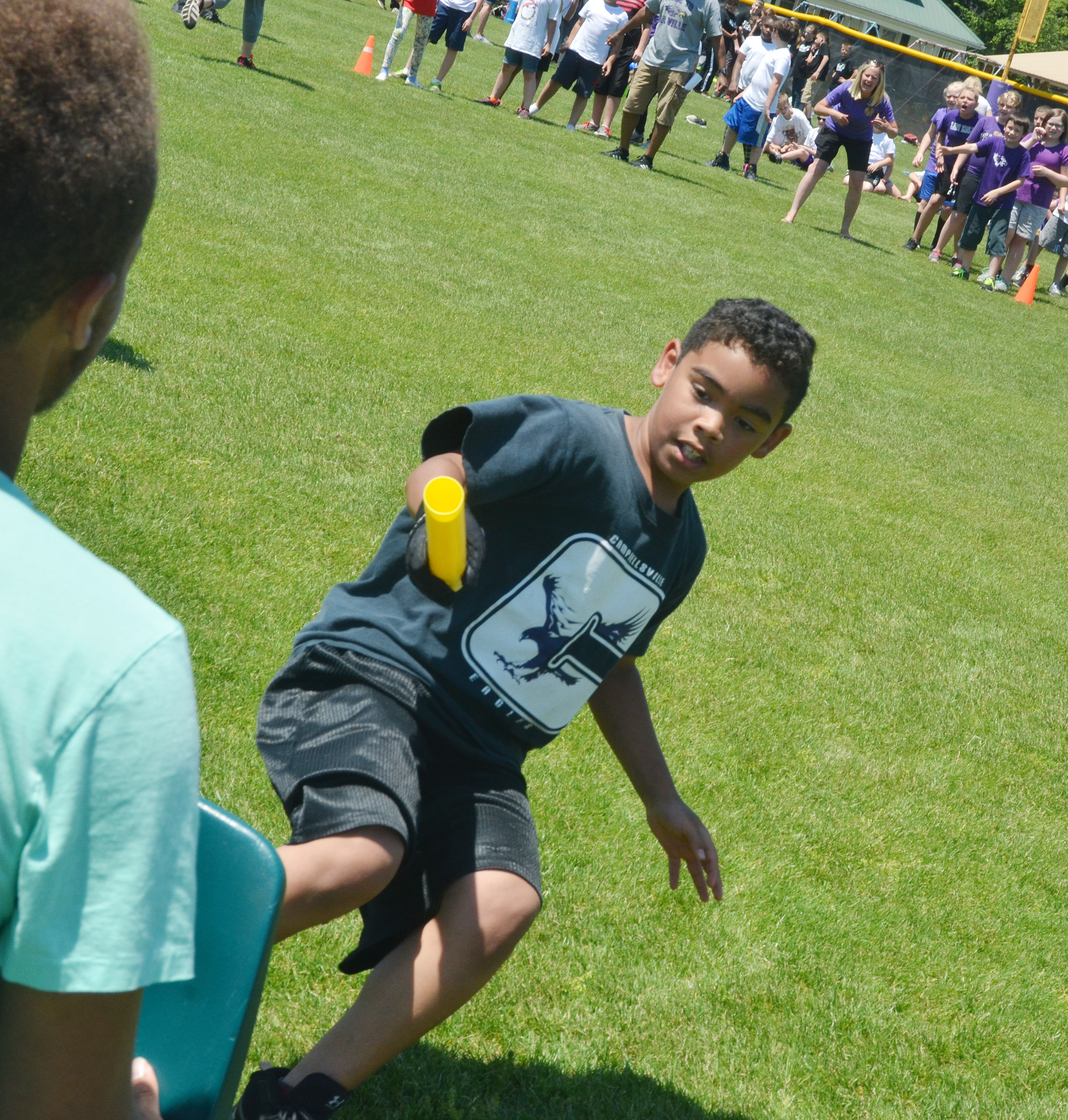 CMS fourth-grader Gabriel Noyola runs in the class relay race.