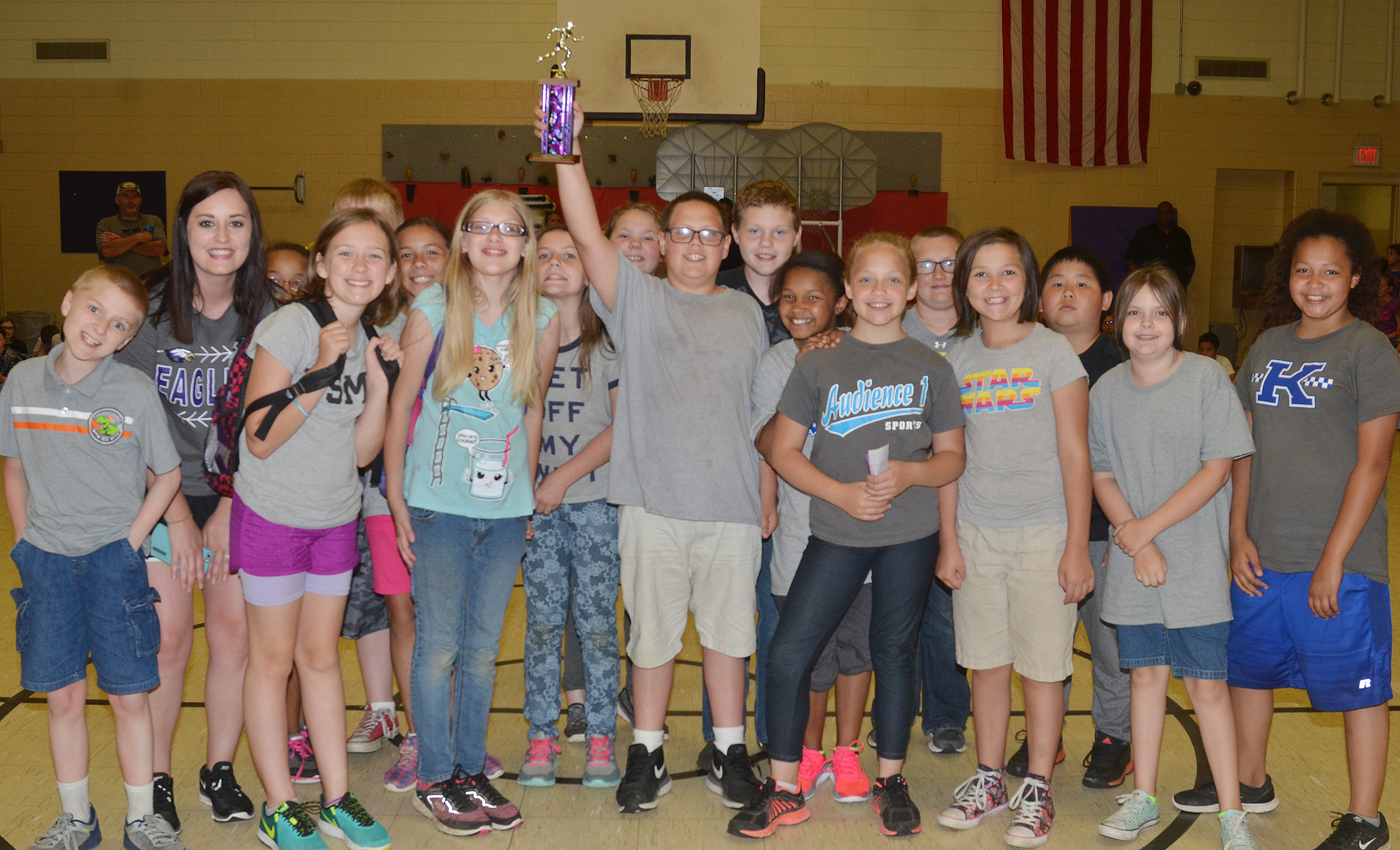 Samantha Coomer's class was the fourth-grade Field Day winners.