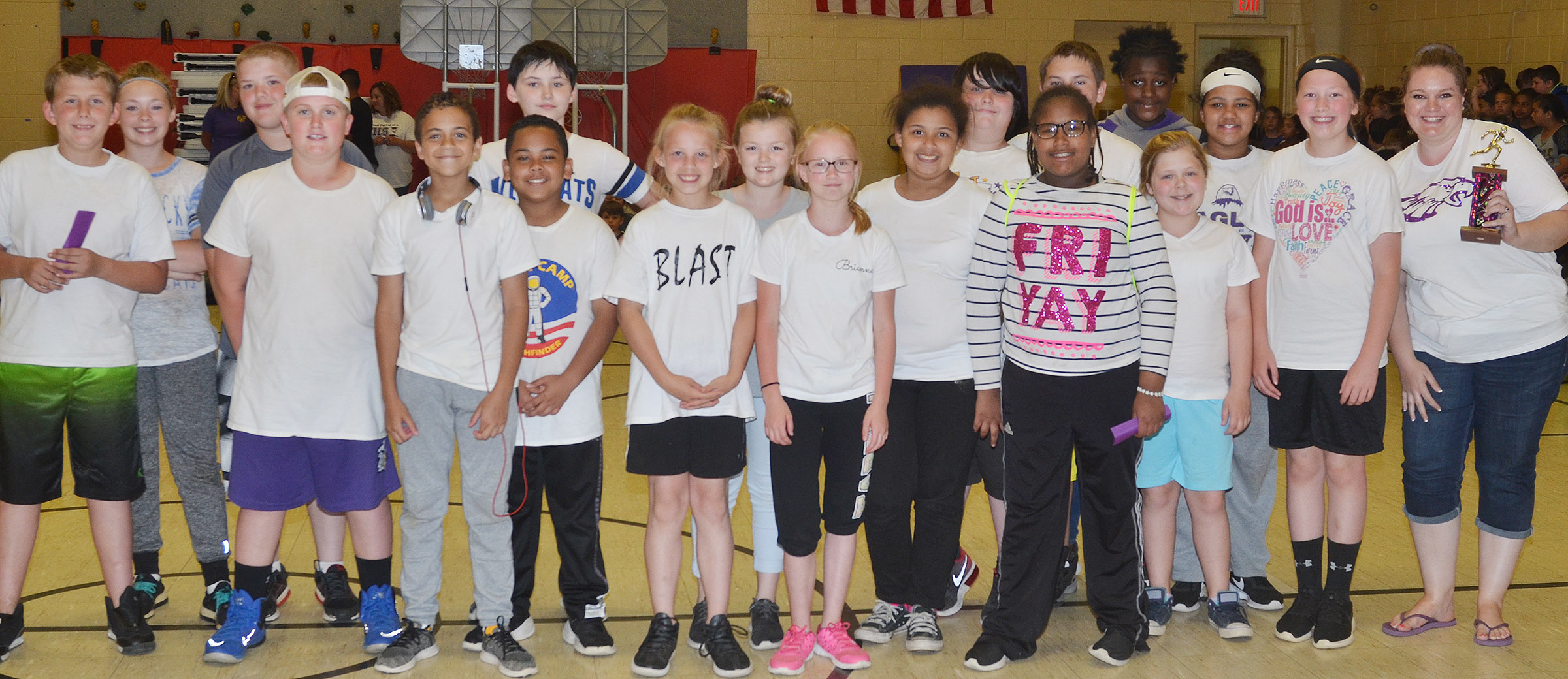 Ann Michael Tucker's fifth-grade class won the Field Day competition.