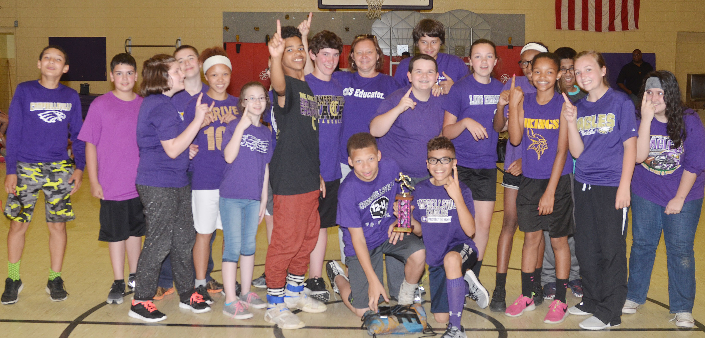 Sharon Harris's seventh-grade class won the Field Day competition.