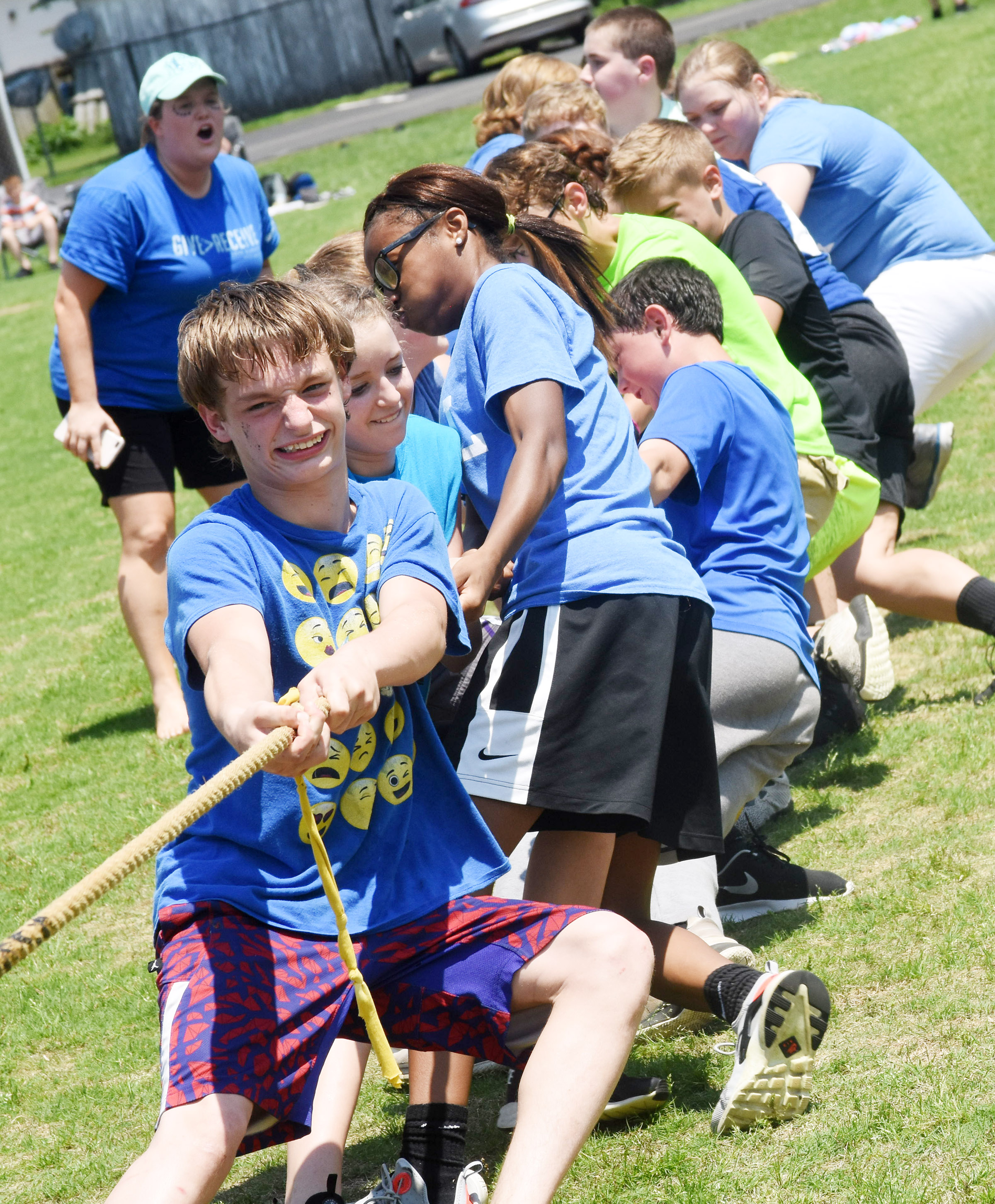 CMS eighth-graders in Paige Cook's class compete in the tug of war. In front is Dalton Reardon.