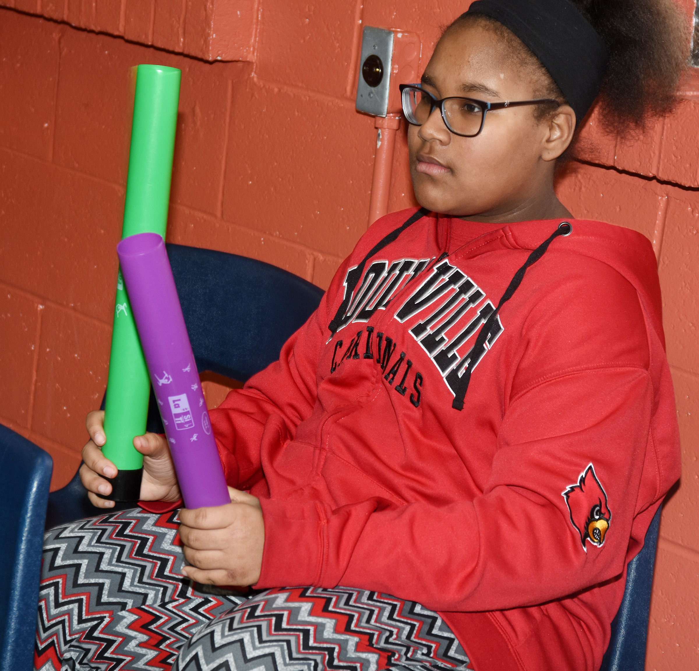 "CMS seventh-grader KyAshia Mitchell performs ""Believer"" with boom whackers."