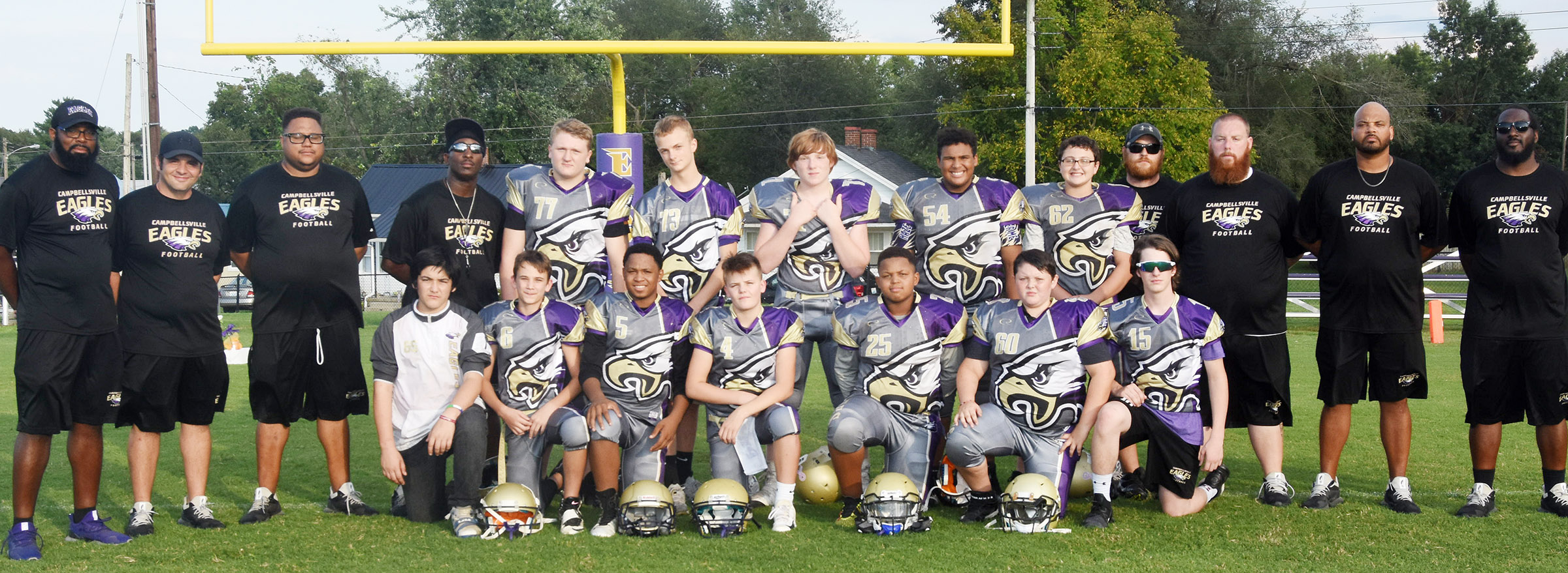CMS football team honored its eighth-grade players on Tuesday, Sept. 18. They are, from left, front, Cayden Corona, Camren Vicari, Deondre Weathers, Konner Forbis, Deondre Weathers, Aiden Humphress and Seth Hash. Back, Levi Dicken, Logan Marples, Isaiah Caffee, J.T. Washington and Cameron Mahan. They are pictured with coaches, from left, Will Griffin, Tommy Allen, Bronson Gowdy, John Gholston, Isaiah Perkins, Stephen Tucker, Aaron Webb and Shumari Bridgewater.