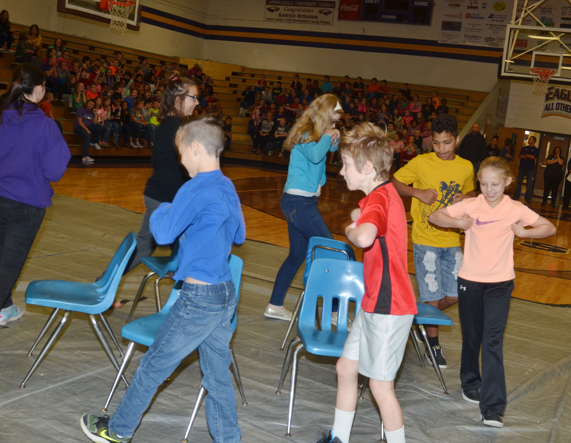 CMS students play musical chairs.