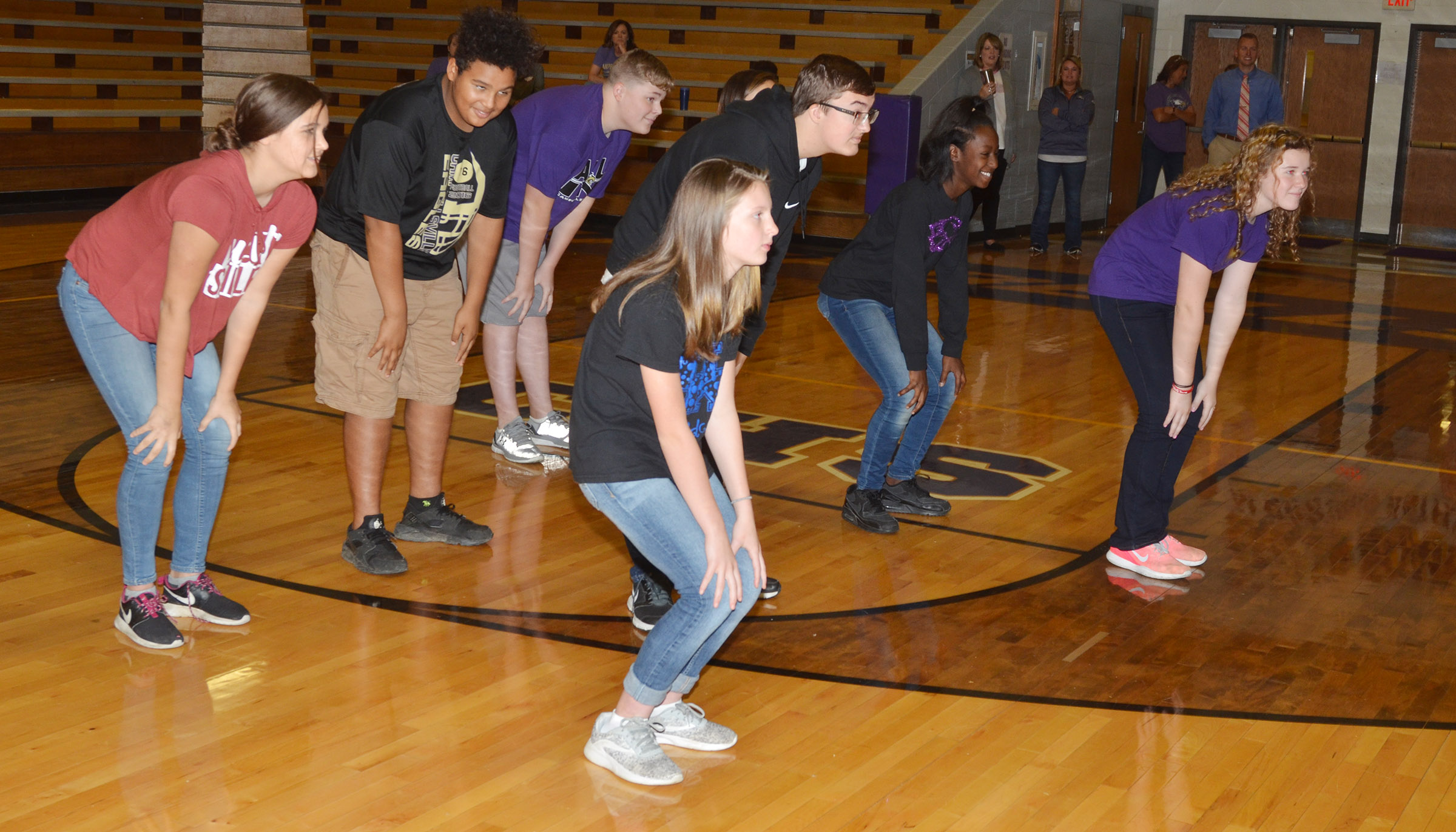 CMS students play a game of Simon Says.