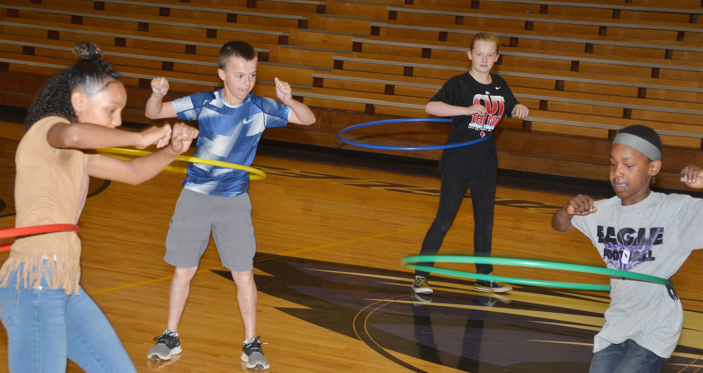From left, CMS seventh-grader Alexis Thomas, sixth-graders Chase Hord and Davanna Reardon and seventh-grader Jadan Furman compete.