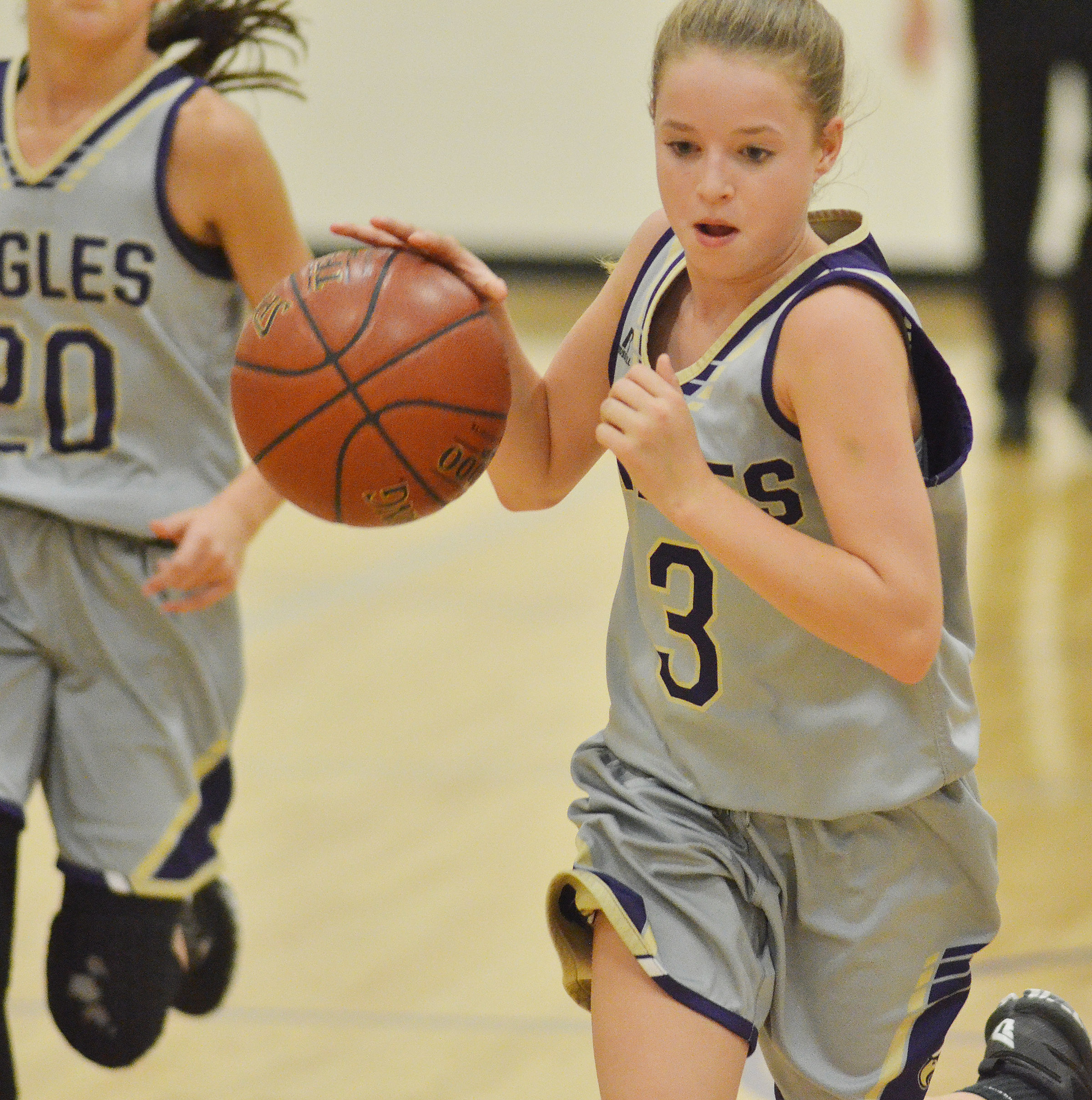 CMS eighth-grader Rylee Petett dribbles to the hoop.
