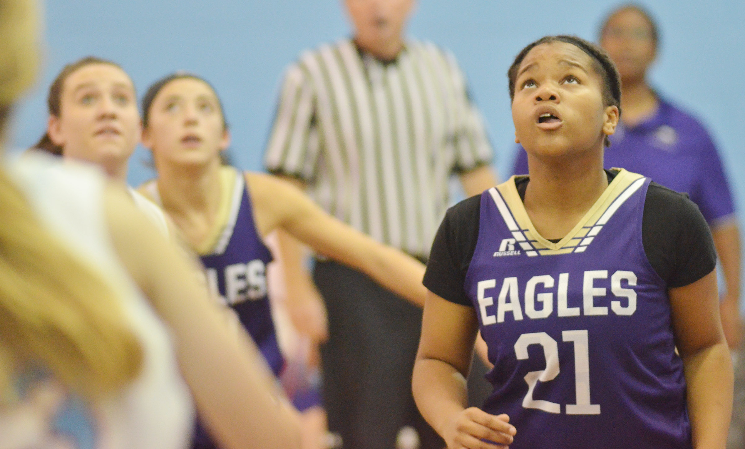 CMS seventh-grader Antaya Epps looks for a rebound.