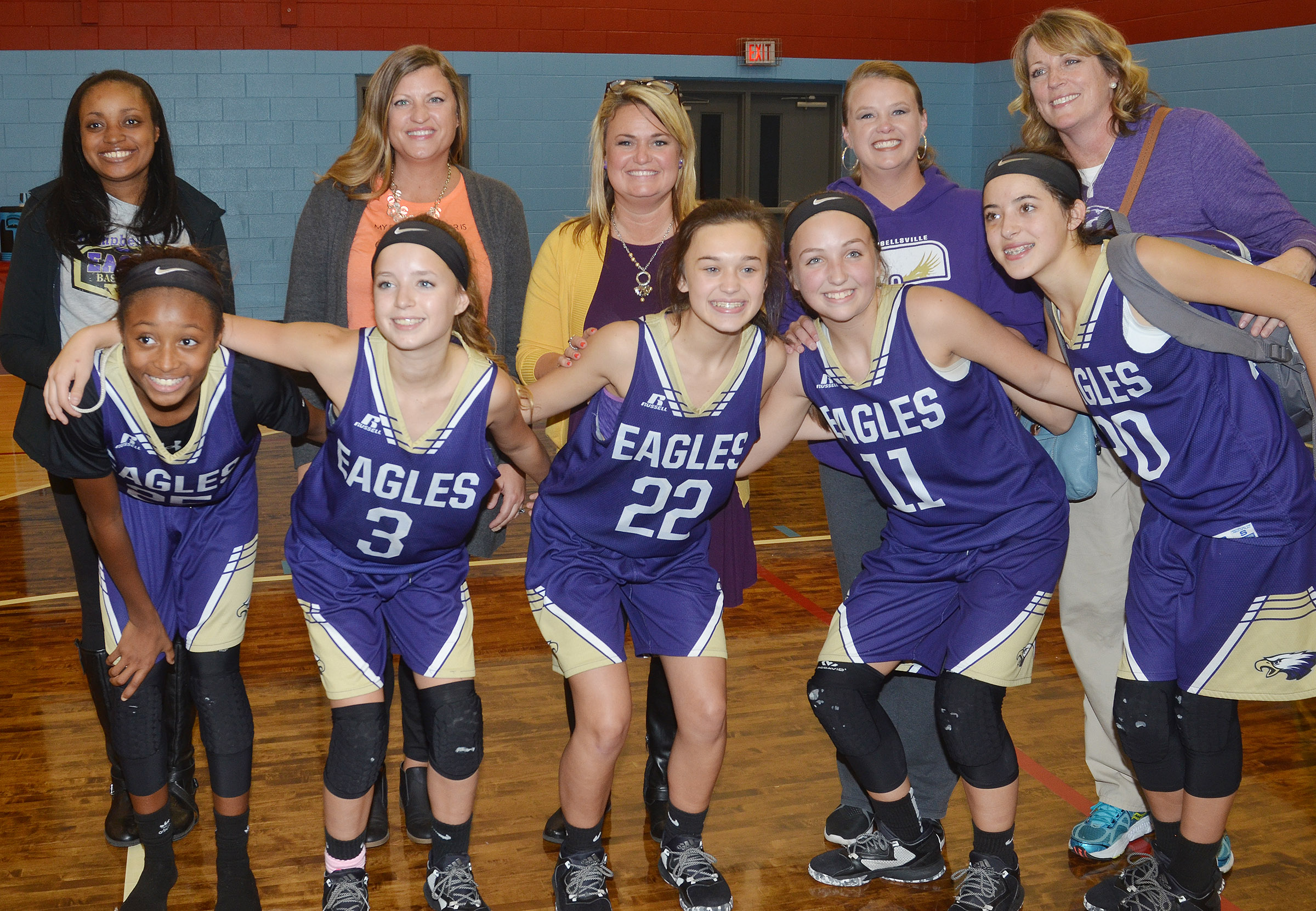 Campbellsville Middle School girls' eighth-grade basketball team recently won its first Central Kentucky Middle School Athletic Conference tournament championship title in 20 years. Above, eighth-grade players pose with their mothers. From left are Bri Gowdy and her mother Tonya, Rylee Petett and her mother Ashley, Tayler Thompson and her mother Kim, Lainey Watson and her mother Jessica Watson and Kaylyn Smith and her mother Andrea.