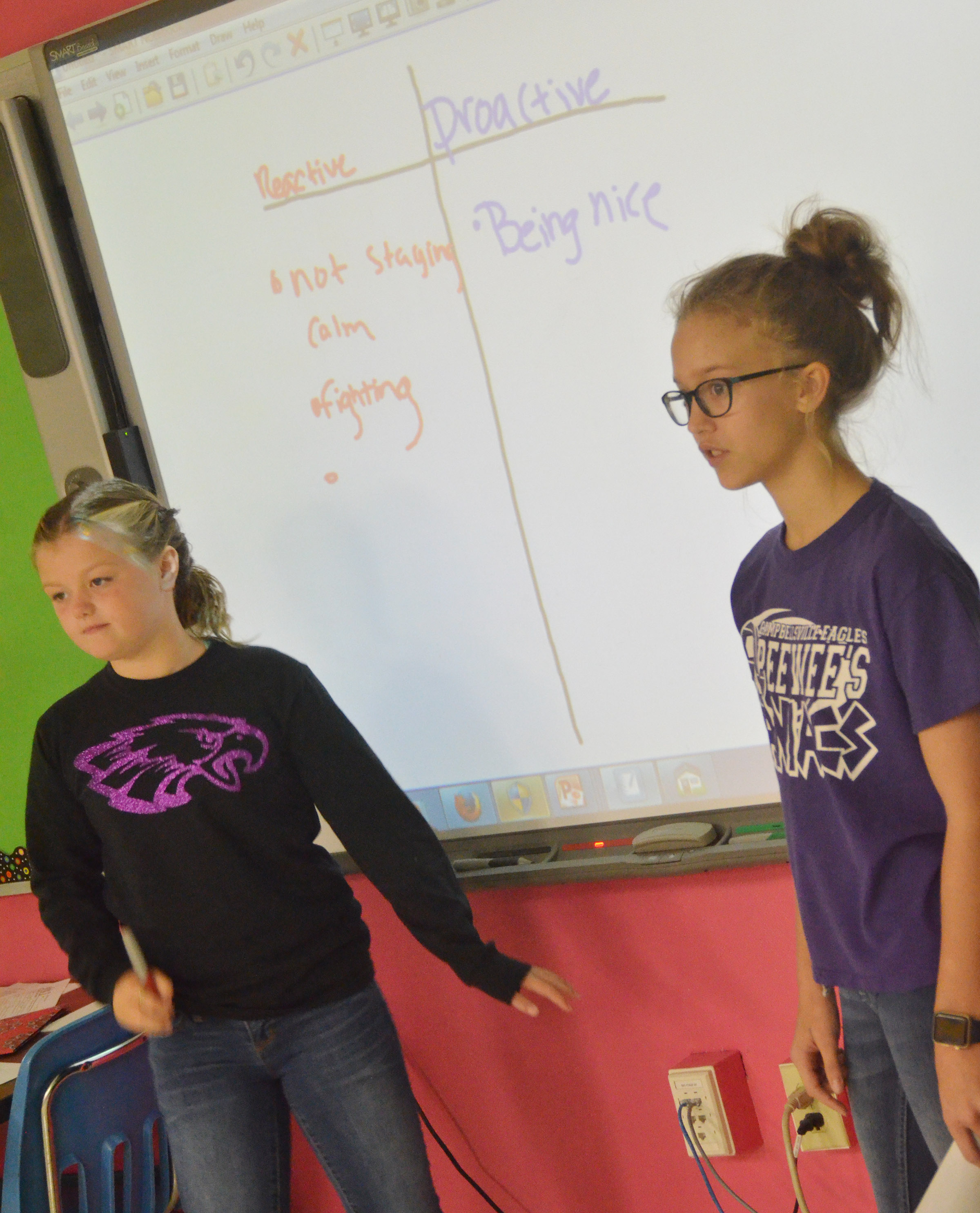 CMS sixth-graders Ellington Gowin, at left, and Chloe Thompson write examples of when students were proactive and reactive.