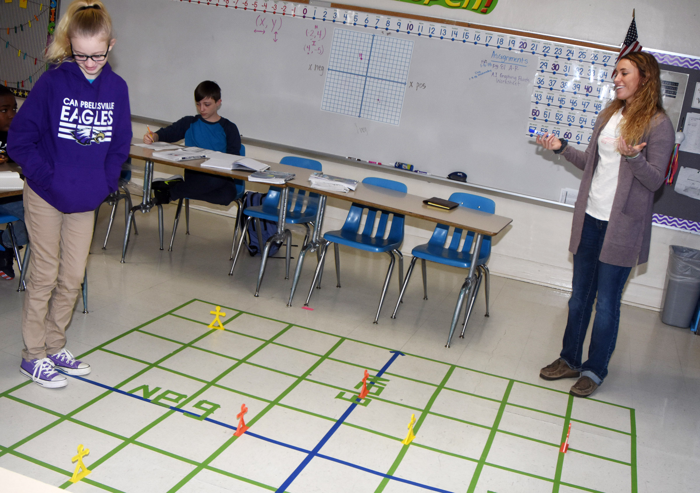CMS sixth-grader Vallie Houk plots a point on a life-size graph, with help from teacher LeeAnn Grider.