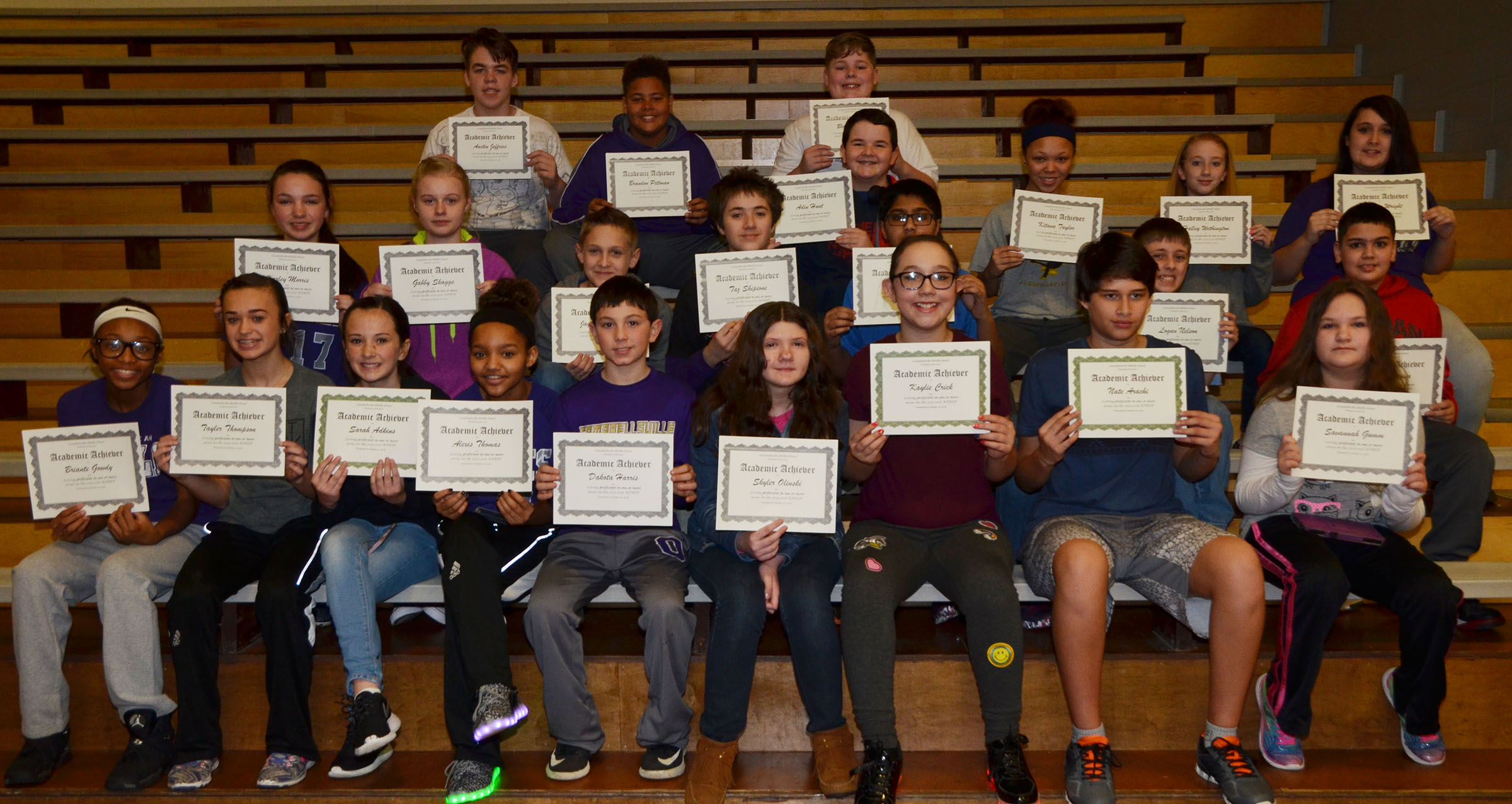 CMS seventh-graders are honored for scoring proficient in one or more areas on last school year's K-PREP exams.