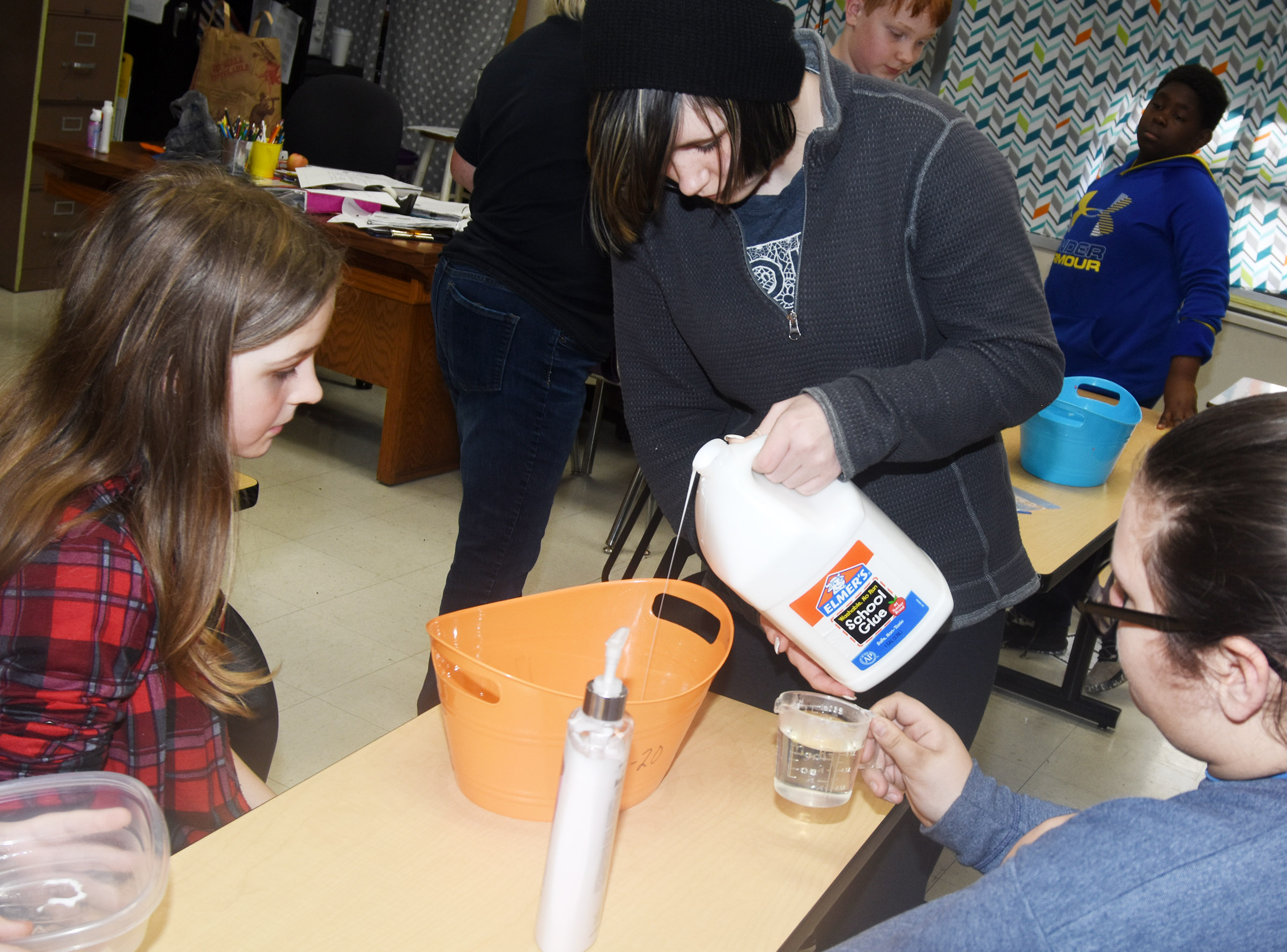 CMS sixth-grader K.J. Forbis and her classmates make slime.
