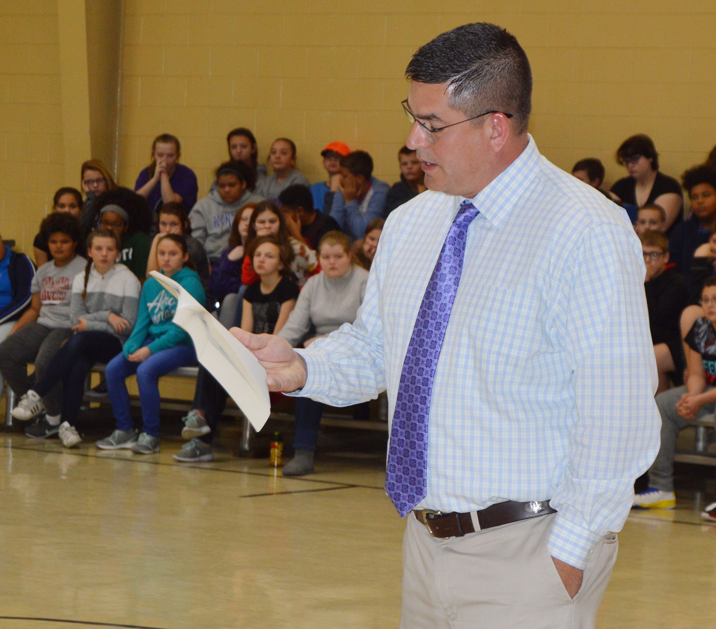 Campbellsville Independent Schools Superintendent Kirby Smith reads to CMS students one of his favorite quotes.