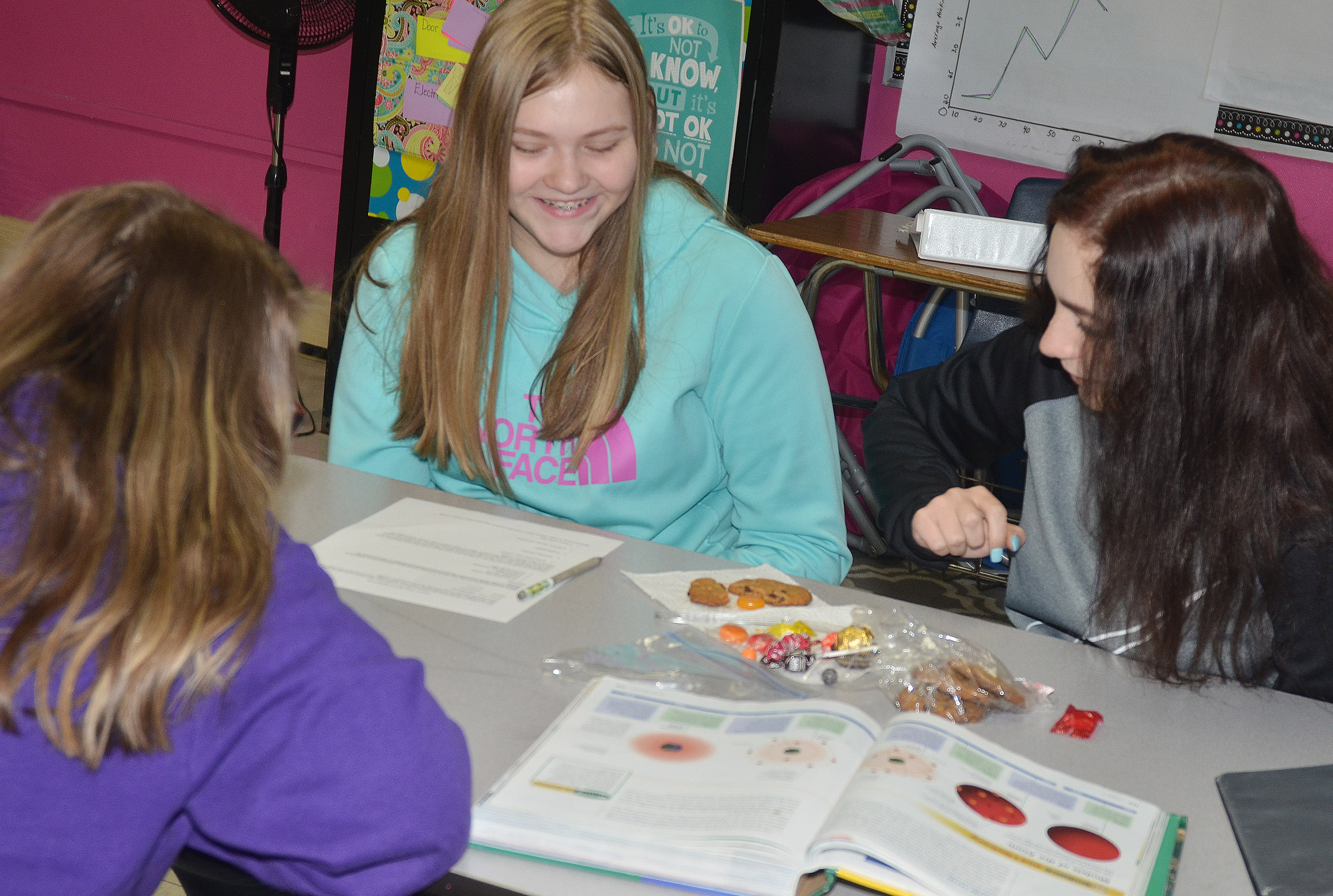 CMS eighth-grader Isabelle Vannice works with her groupmates to compare their candies to the atomic models.