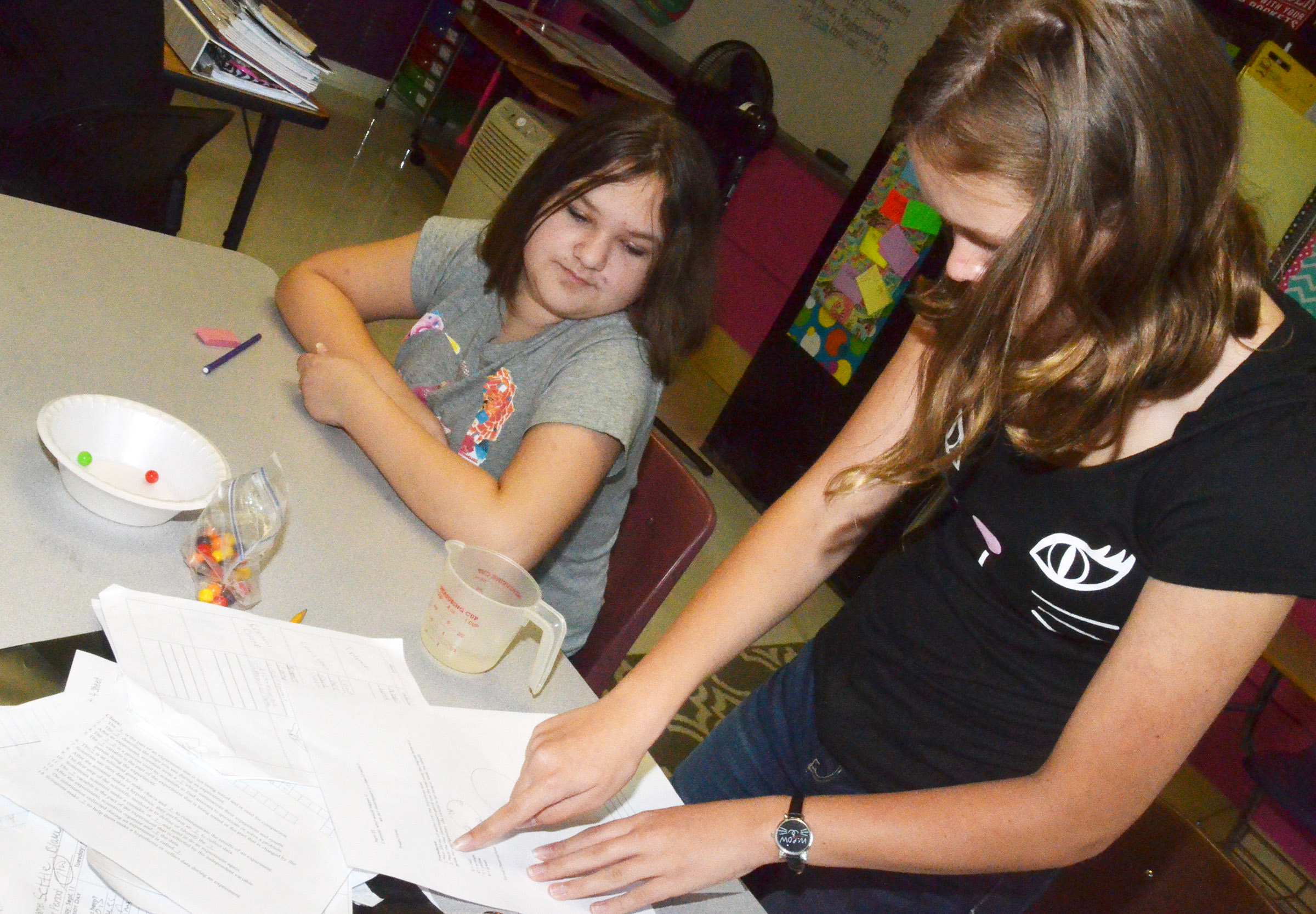 CMS eighth-graders Savannah Gumm, at left, and MaCayla Falls read the instructions for their lab exercise.