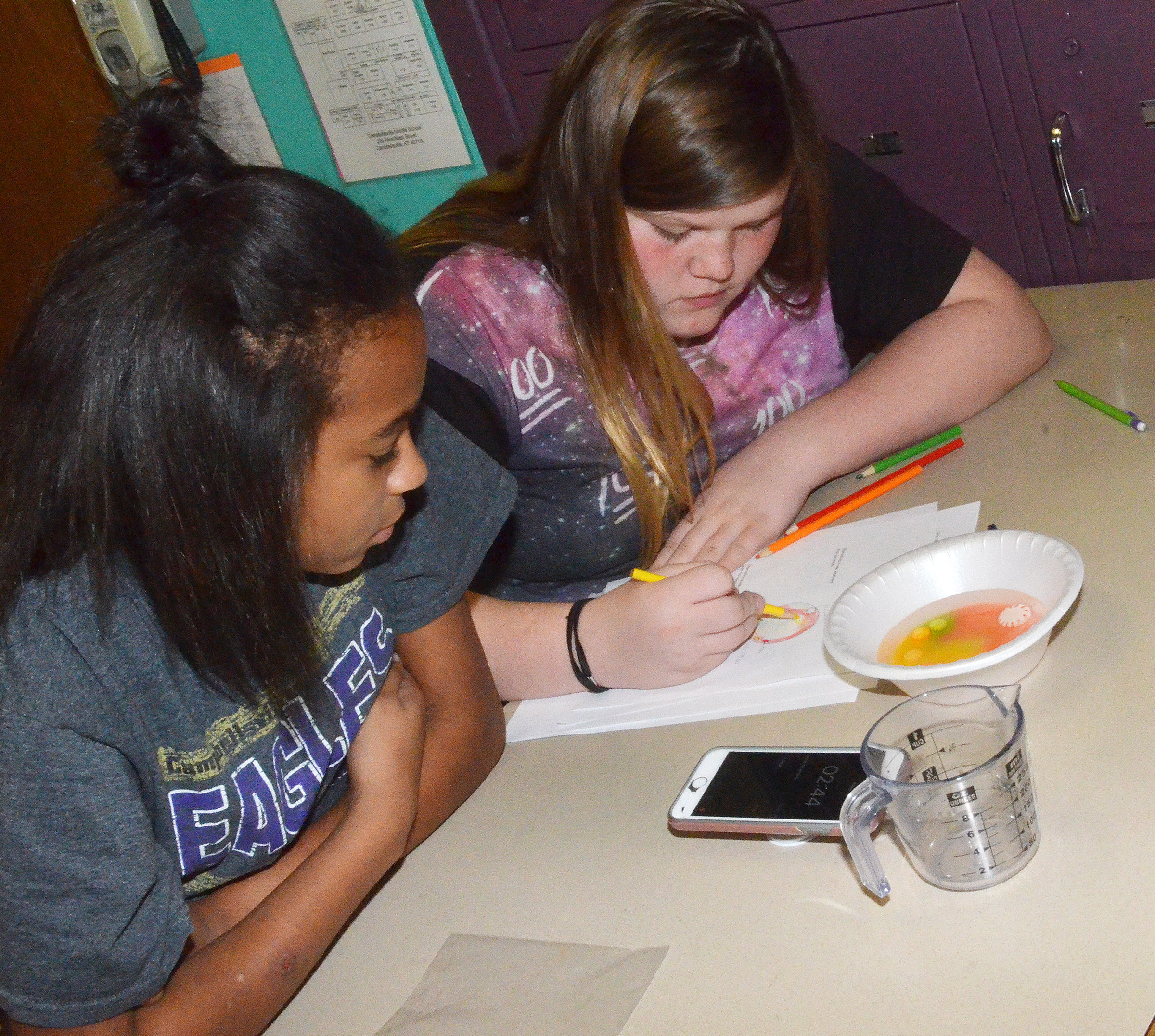 CMS eighth-graders AunDaya Coleman, at left, and Sumara Berry answer questions after performing their lab exercise.