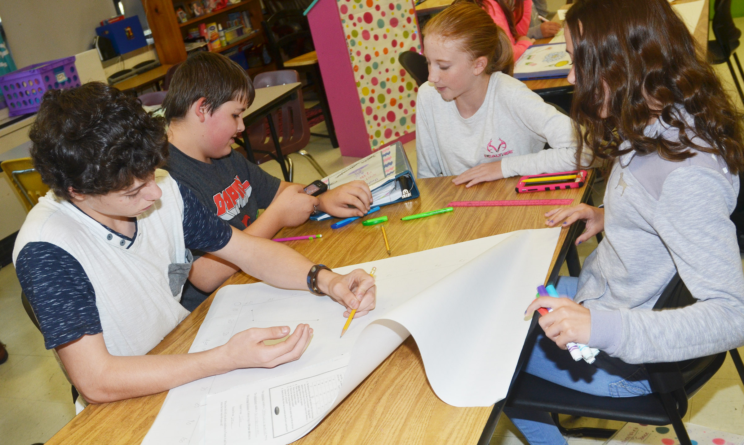 From left, CMS eighth-graders C.J. Adams, Kaine Terry, Hayley Wethington and Chloe Anderson work on their graph.