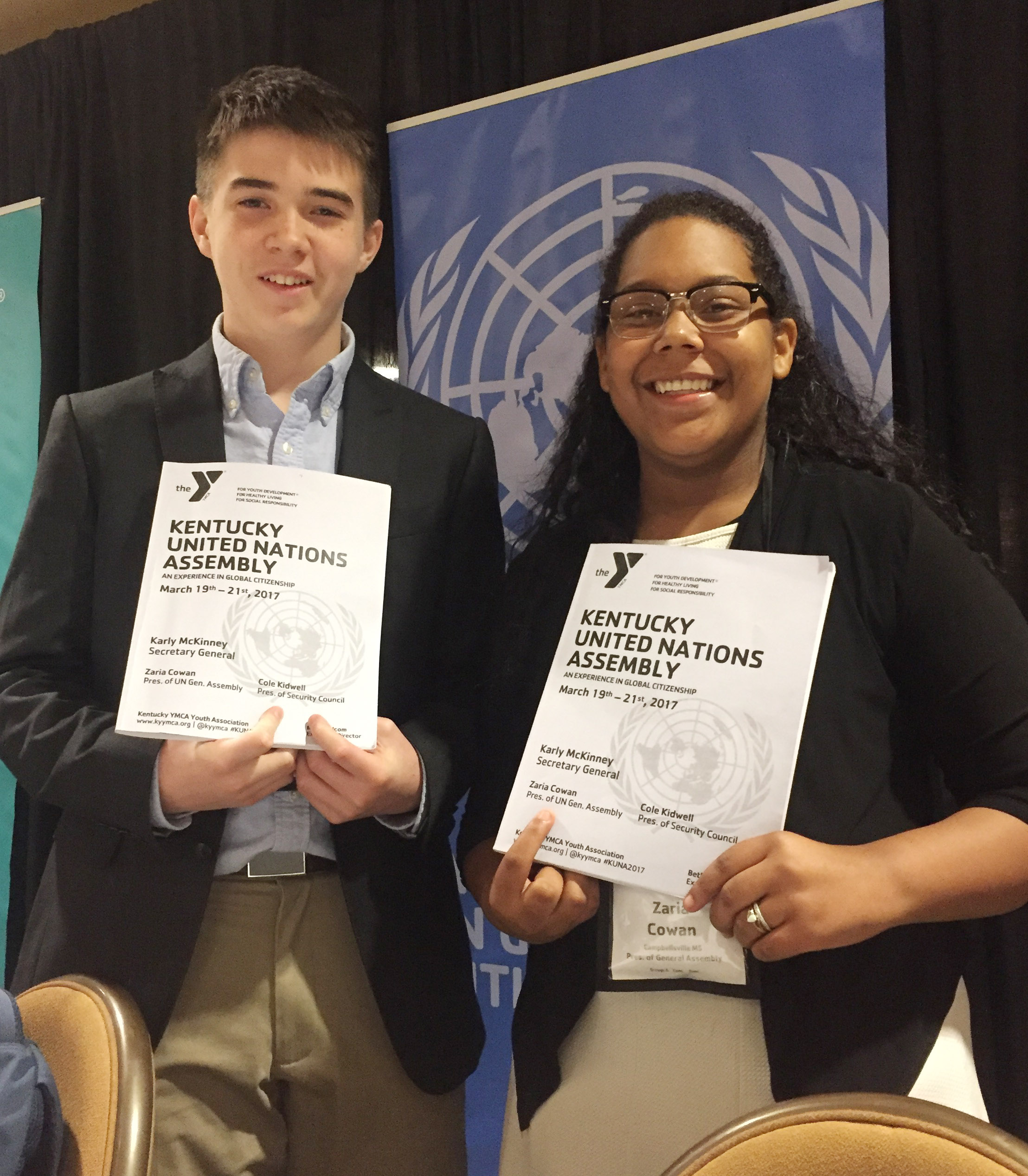 Campbellsville High School freshmen Cole Kidwell, at left, and Zaria Cowan attended KUNA and served in leadership roles. Cowan was president of the United Nations General Assembly, and Kidwell served as president of the Security Council.