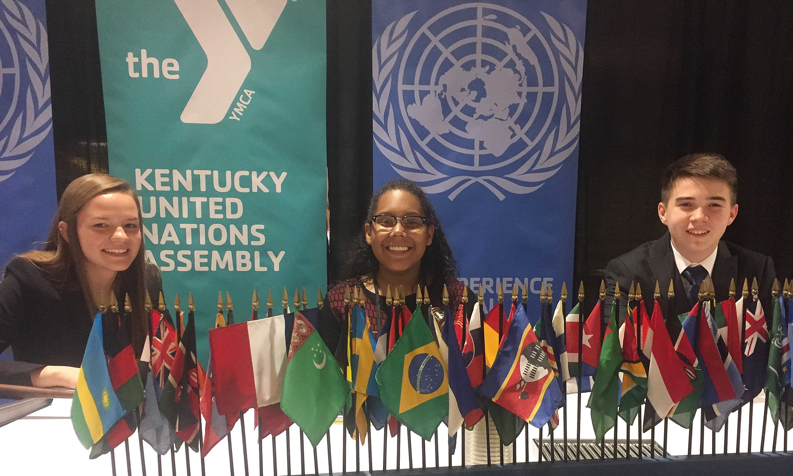 Campbellsville High School freshmen Zaria Cowan, center, and Cole Kidwell, at right, attended KUNA and served in leadership roles. Cowan was president of the United Nations General Assembly, and Kidwell served as president of the Security Council. At left is Karly McKinney, at left, who was secretary general.