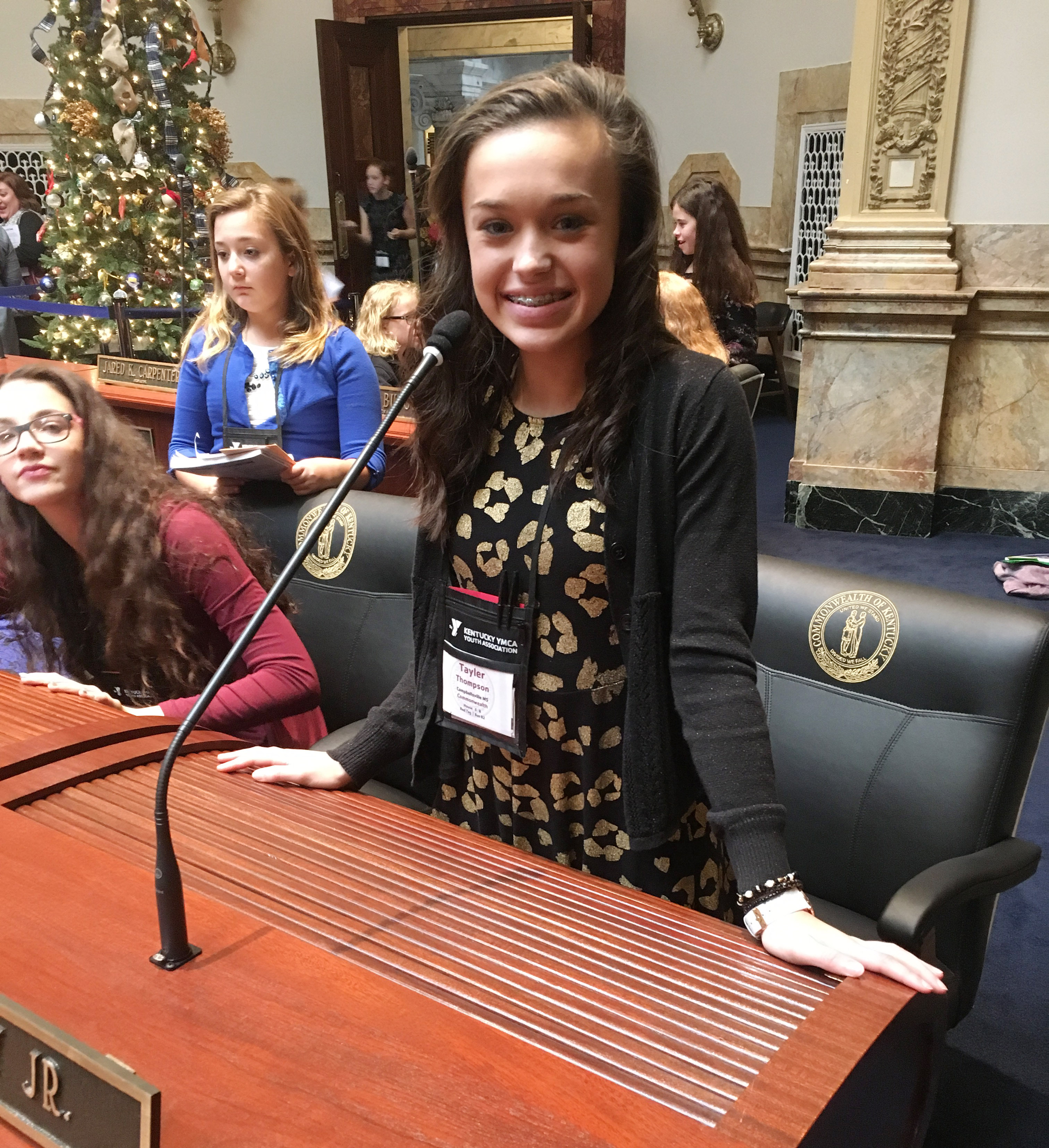 CMS seventh-grader Tayler Thompson sits on the Senate floor.