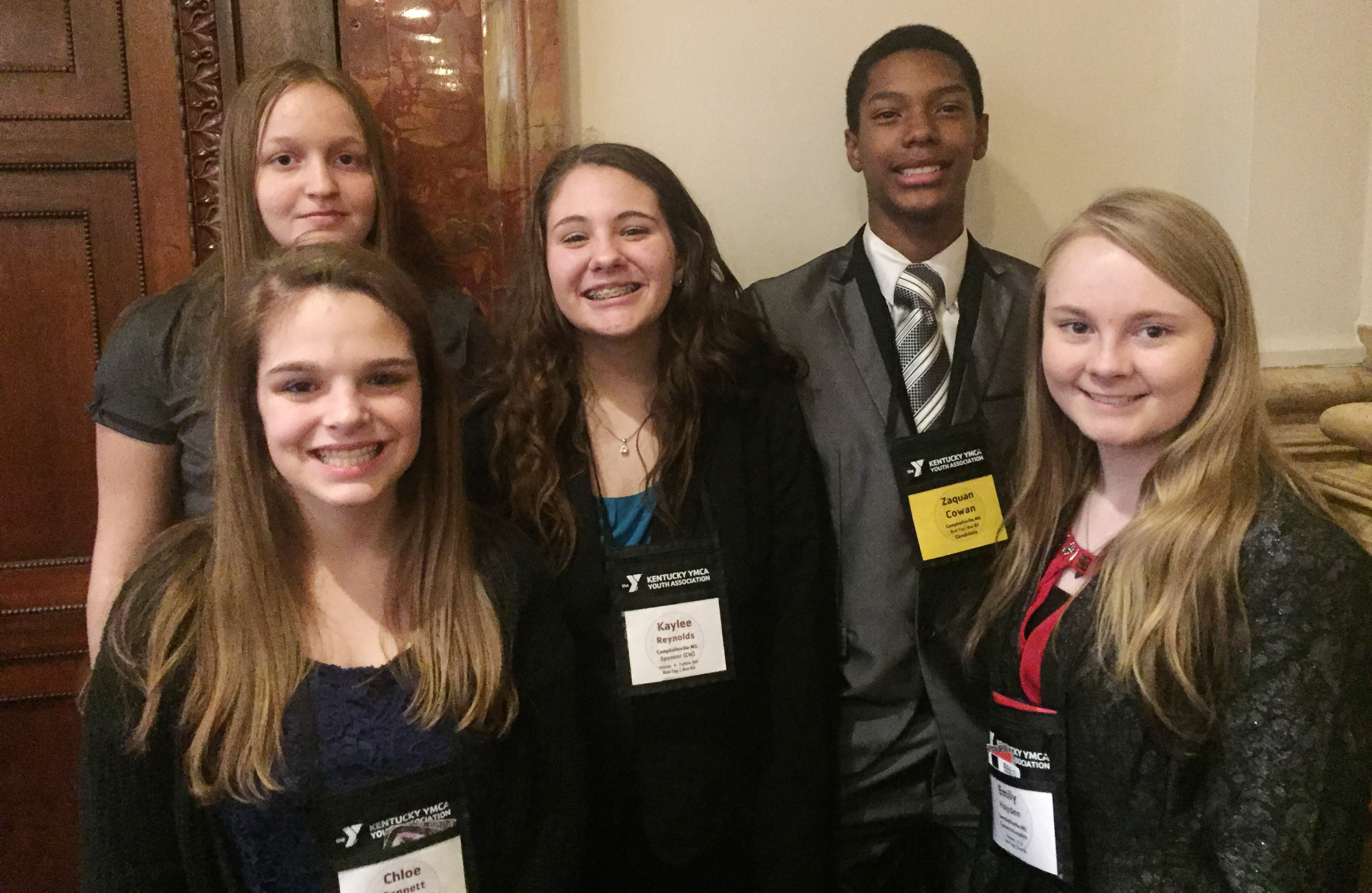 From left, CMS eighth-graders attending KYA include Chloe Bennett, Destiny Hicks, Kaylee Reynolds, Zaquan Cowan and Emily Hayden. Absent from the photo is Abi Wiedewitsch.