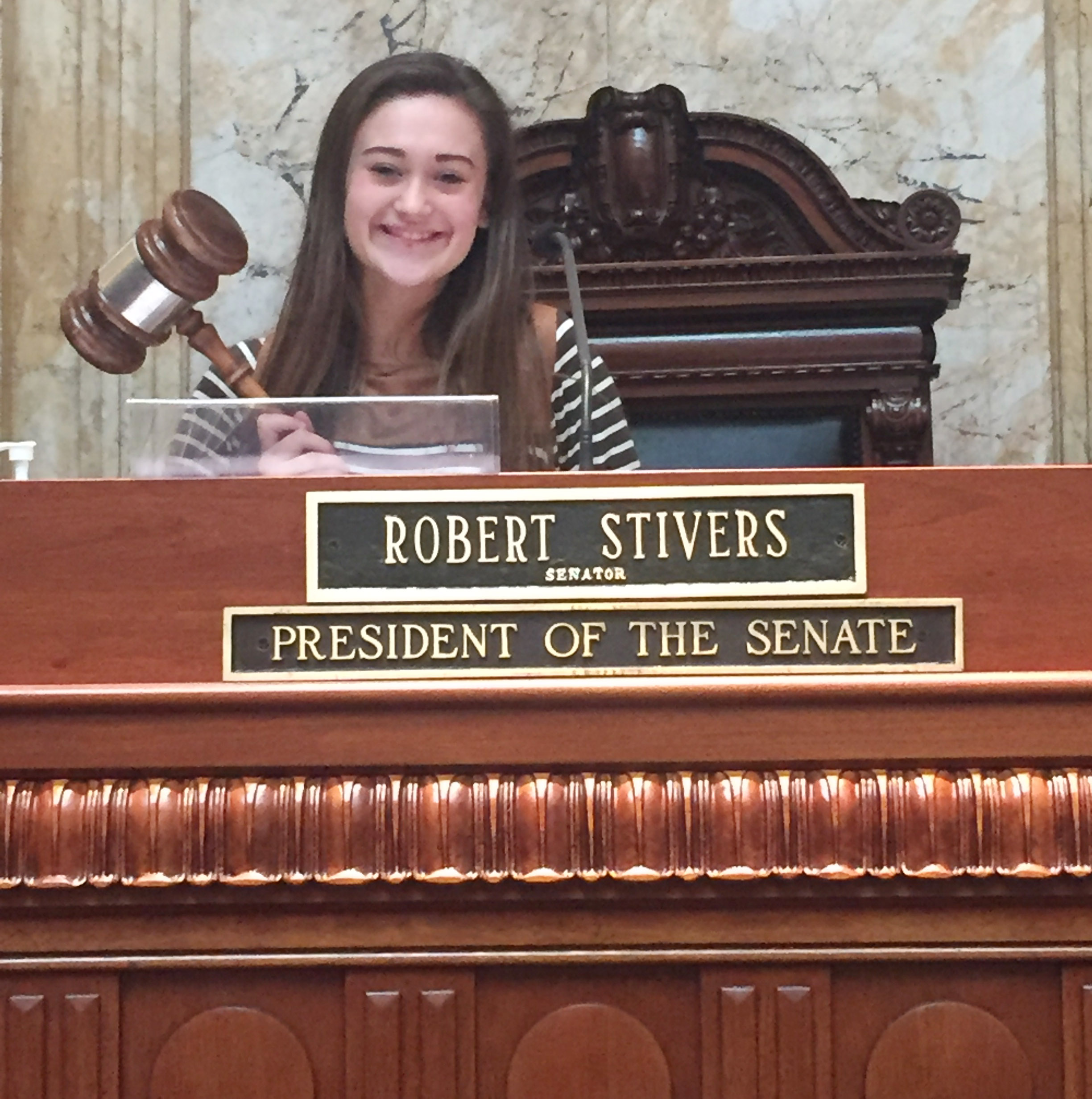 CHS freshman Bailey Thompson performs her duties as president of the Senate.