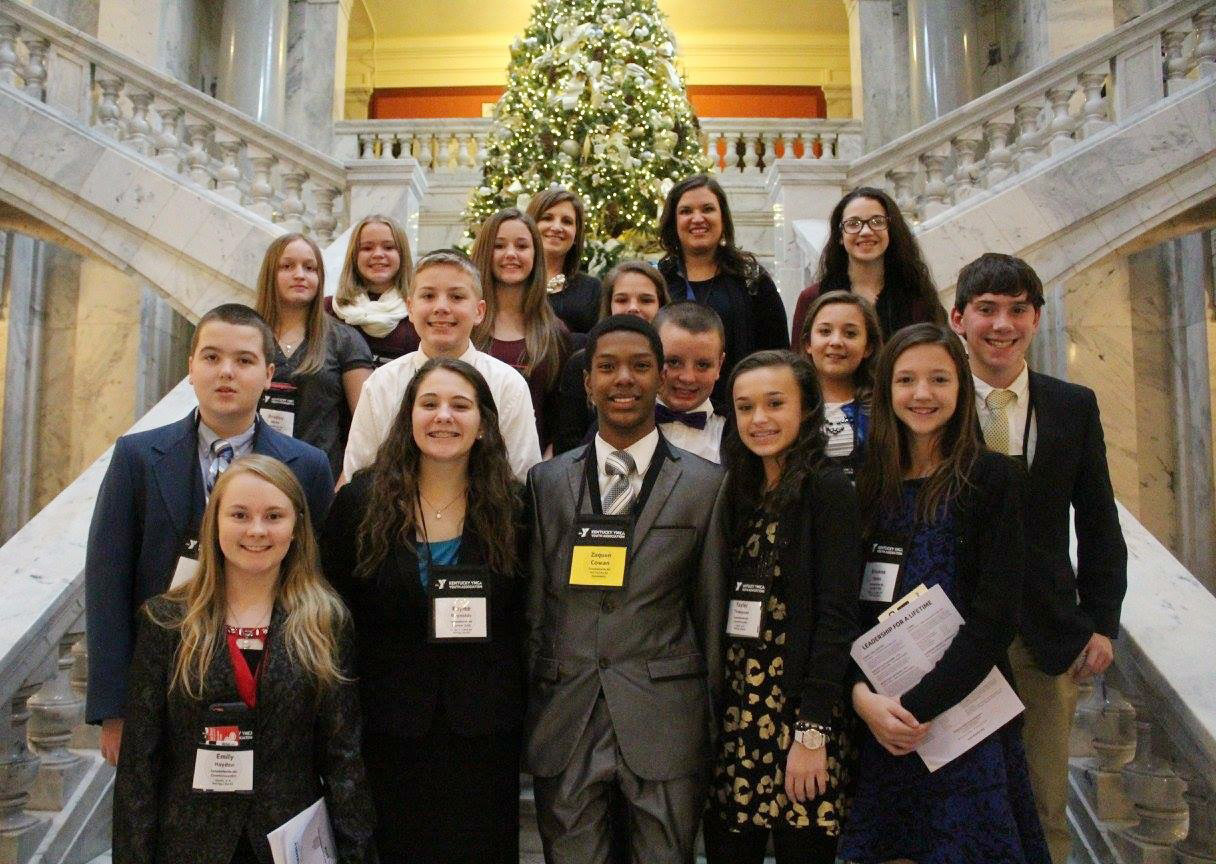 Students attending this year's KYA convention include, from left, front, eighth-graders Emily Hayden and Kaylee Reynolds, eighth-grader Zaquan Cowan, seventh-grader Tayler Thompson and sixth-grader Bri Hayes. Second row, seventh-grader Jack Sabo, sixth-graders Wesley Reynolds, Jacob Judd and Briana Hayes and seventh-grader Peyton Dabney. Third row, eighth-grader Destiny Hicks, sixth-grader Haylee Allen, eighth-grader Chloe Bennett and sixth-grader Mary Russell. Back, seventh-grader Riley Rainwater and CMS KYA sponsors and teachers Jessica Lile and Robbilyn Speer.