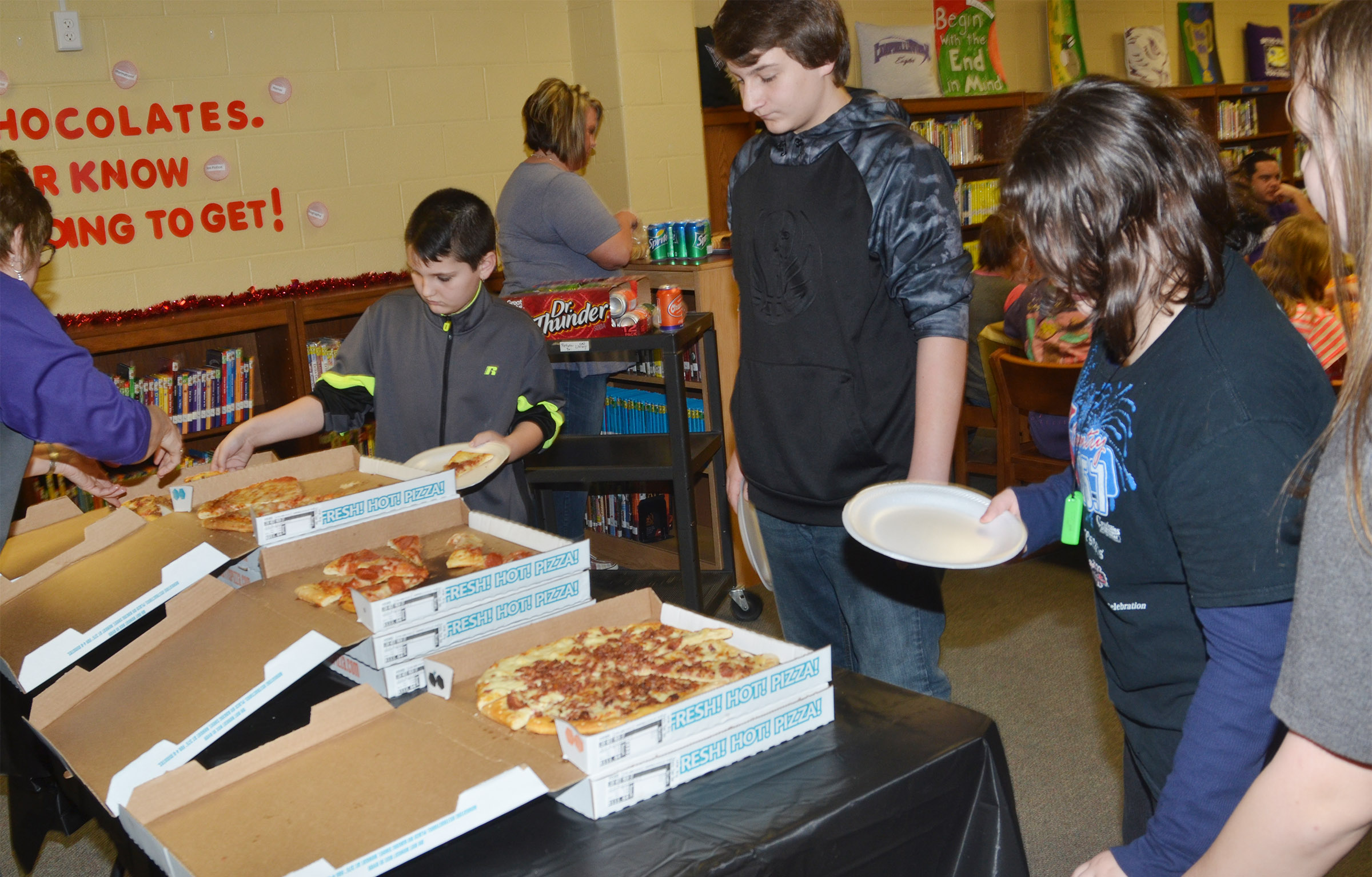 CMS student leaders are treated to a pizza lunch.