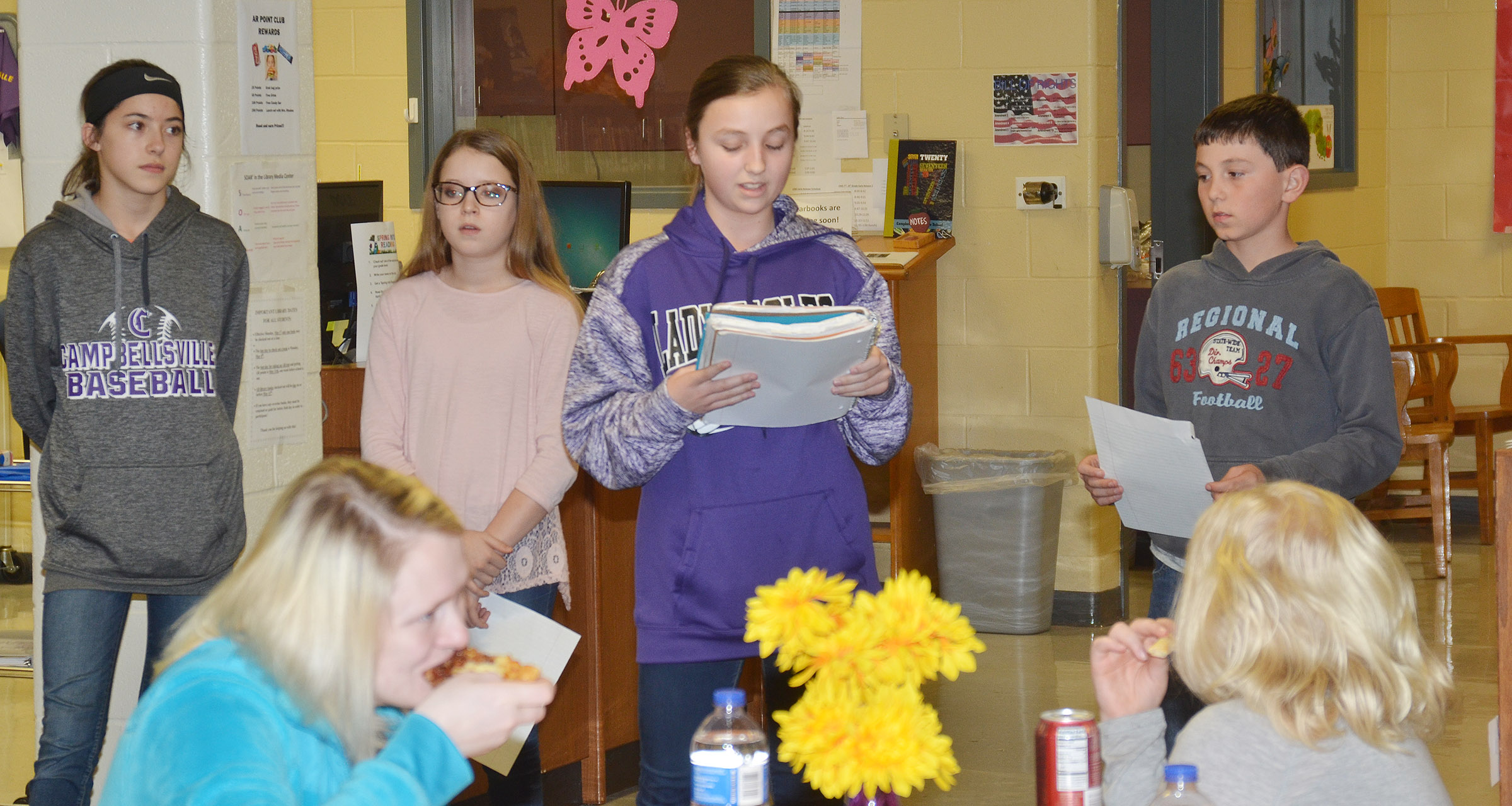 From left, CMS seventh-graders and Lighthouse Team members Kaylyn Smith, Rylee Petett, Lainey Watson and Dakota Harris talk about how the Leader in Me program at their school has helped them.