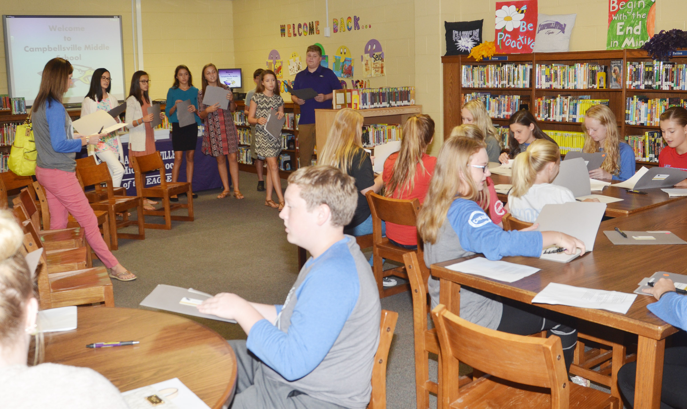 CMS Lighthouse Team members, at left, introduce themselves to their guests from Casey County Middle School.