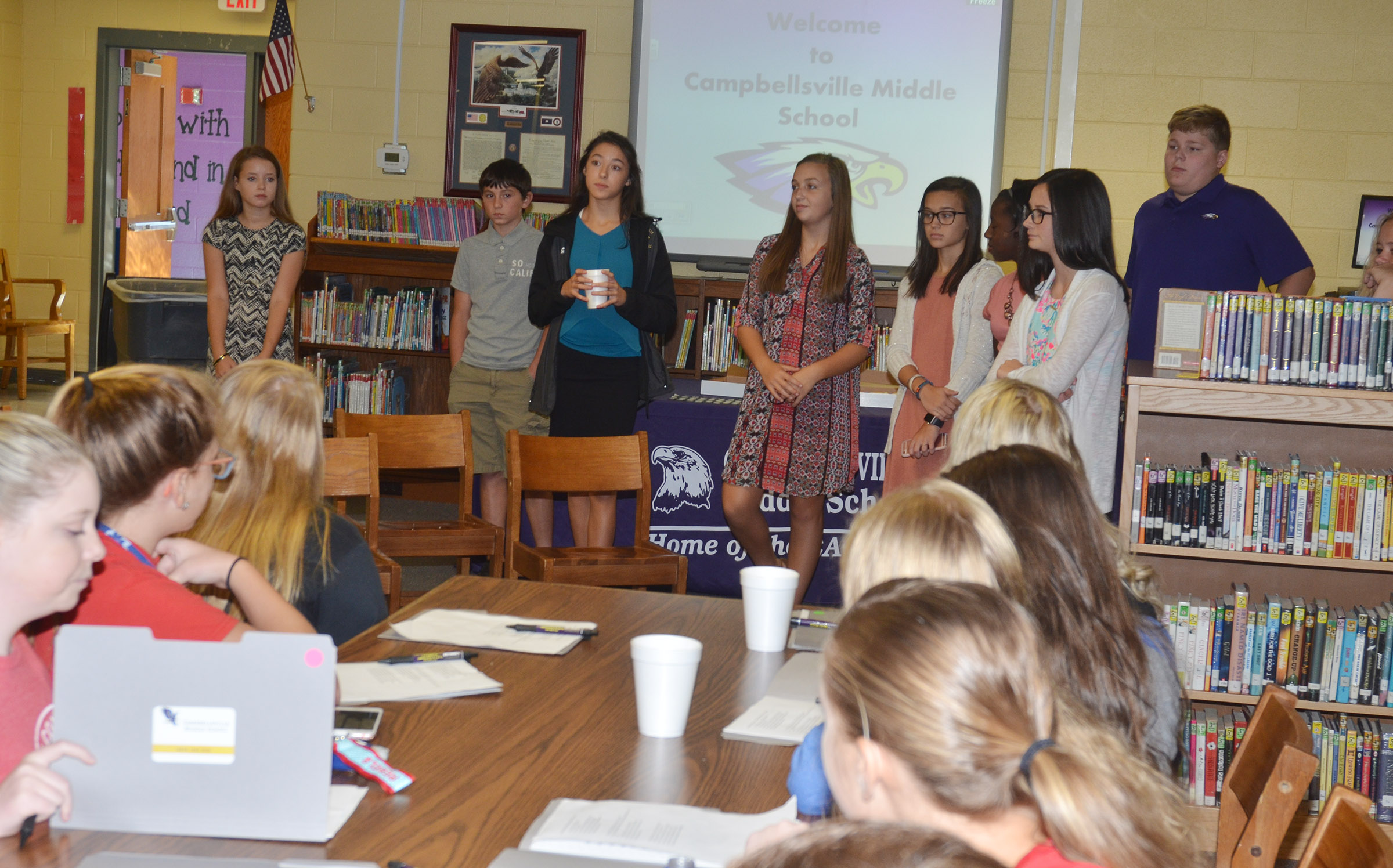 CMS Lighthouse Team members answer questions for their Casey County Middle School guests.