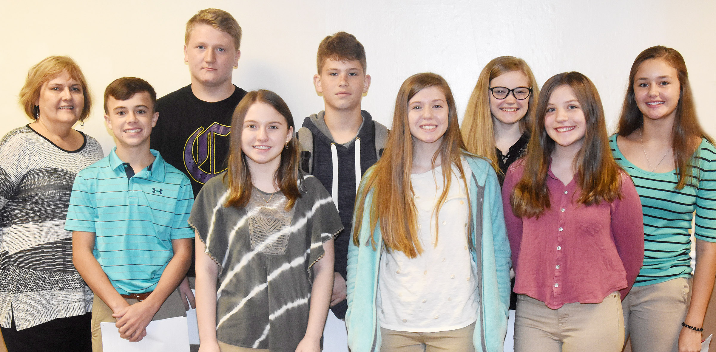 CMS students participating in the LOCK program are, from left, front, eighth-graders Chase Hord, Leigh Hicks, Alysa Howard and Mikaela Scharbrough. Back, CMS guidance assistant Debbie Edwards and eighth-graders Levi Dicken, Weston Mattingly, Whitney Frashure and Haylee Allen. Absent from the photo is eighth-grader Seth Hash.