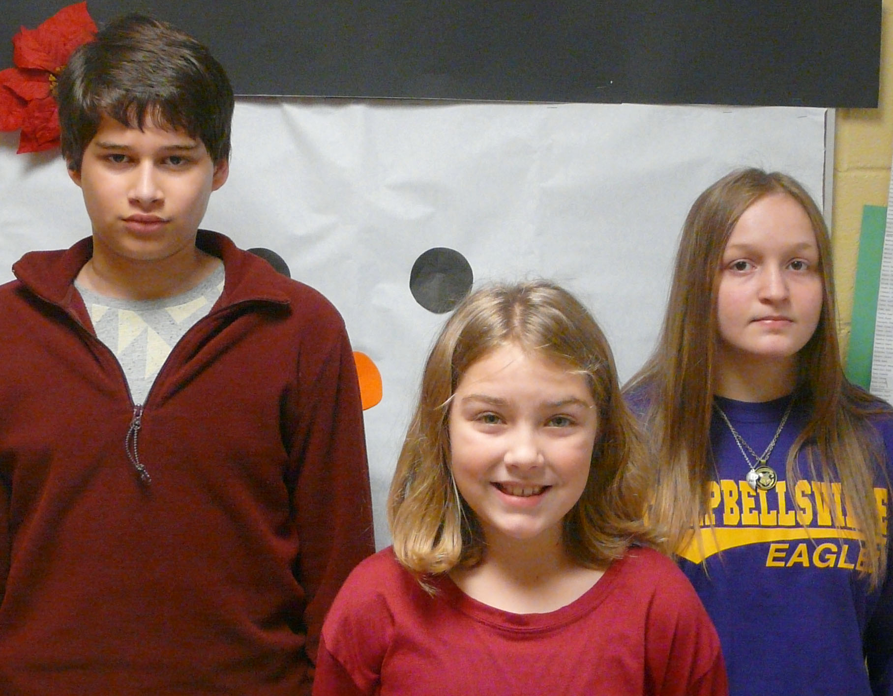 From left are seventh-grader Nate Arachi, fourth-grader Harley Couch-Allen and eighth-grader Destiny Hicks. Not pictured are fifth-grader Gabby Bright and sixth-grader Emily Shuck.