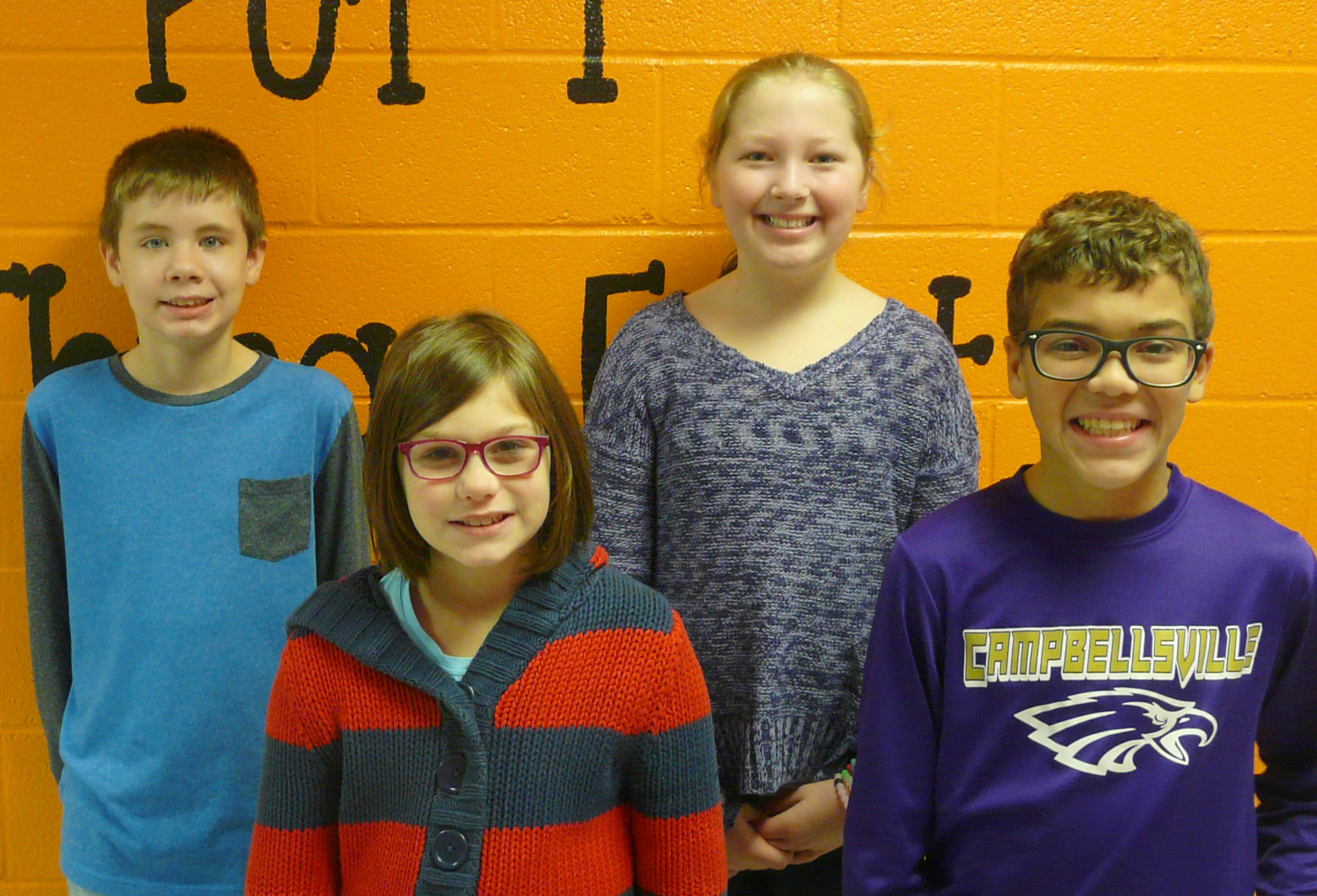From left are sixth-grader Blake Tungate, fourth-grader Destiny Milby, fifth-grader Ava Hughes and seventh-grader Logan Phillips. Eighth-grader Noah Mardis isn't pictured.