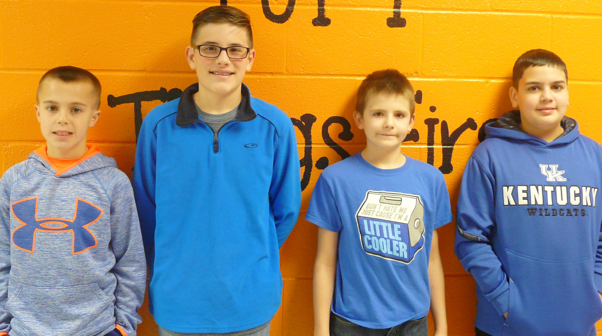 From left are sixth-grader Chase Hord, fifth-grader Isaac Garrison, fourth-grader Ryan Shuck and seventh-grader Jaylin Napier. Eighth-grader Haley Lopez isn't pictured.