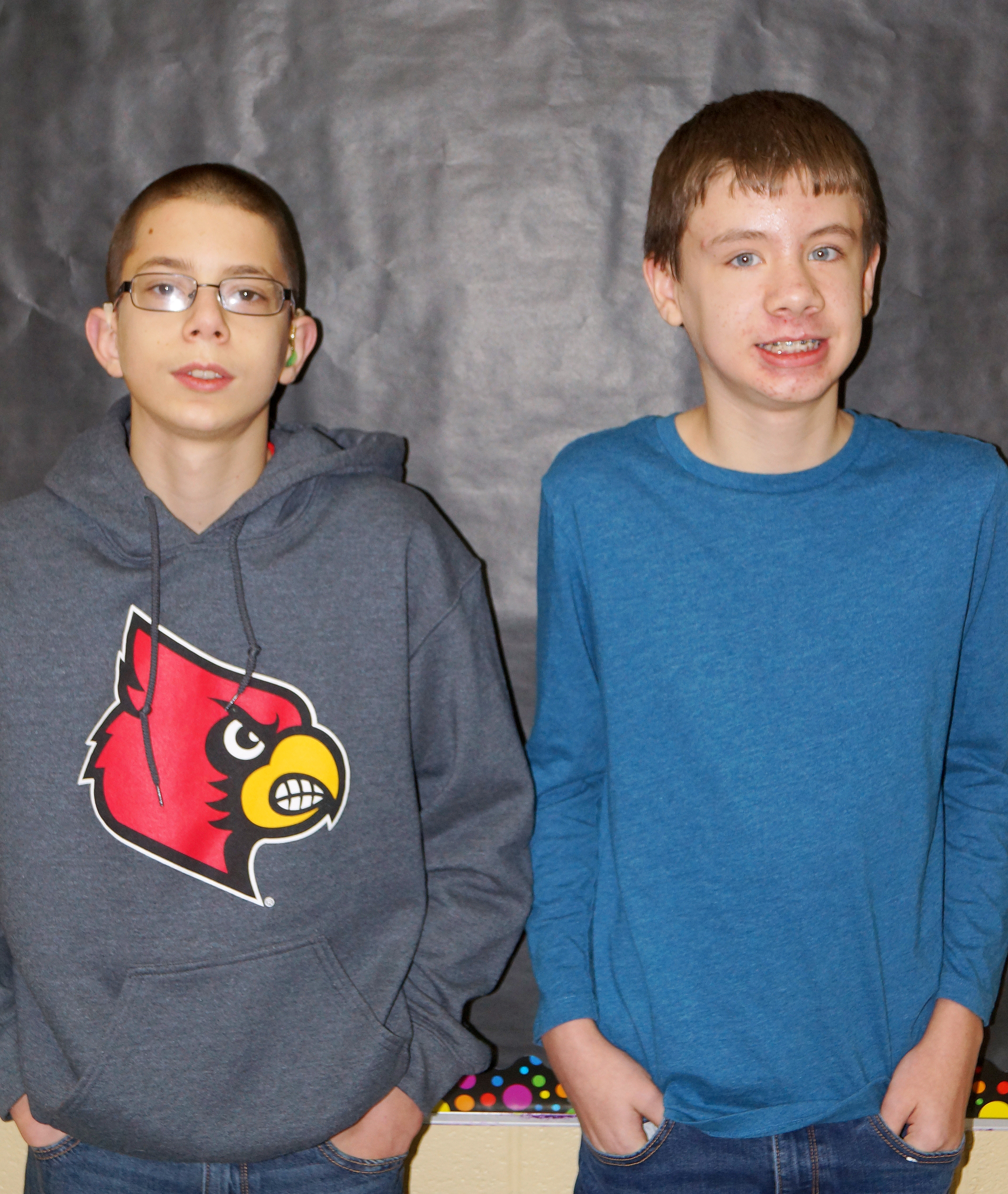 From left are eighth-grader Grant Lawson and seventh-grader Blake Tungate. Sixth-grader Zachary Johnson isn't pictured.