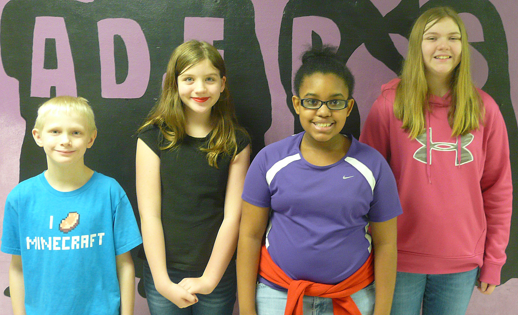 From left are fourth-grader Bronson Cox, sixth-grader Mikaela Scharbrough, eighth-grader Jasmine Mitchell and seventh-grader Isabella Vannice. Fifth-grader Isaac Roddy isn't pictured.