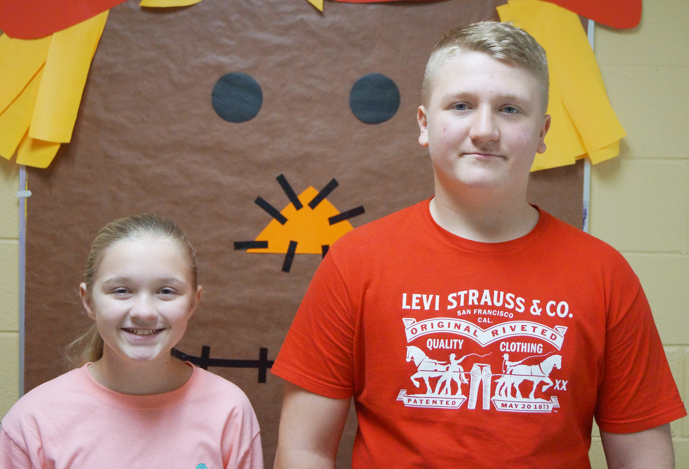 From left are sixth-grader Lillee Byrne and seventh-grader Levi Dicken. Eighth-grader Sumara Berry isn't pictured.