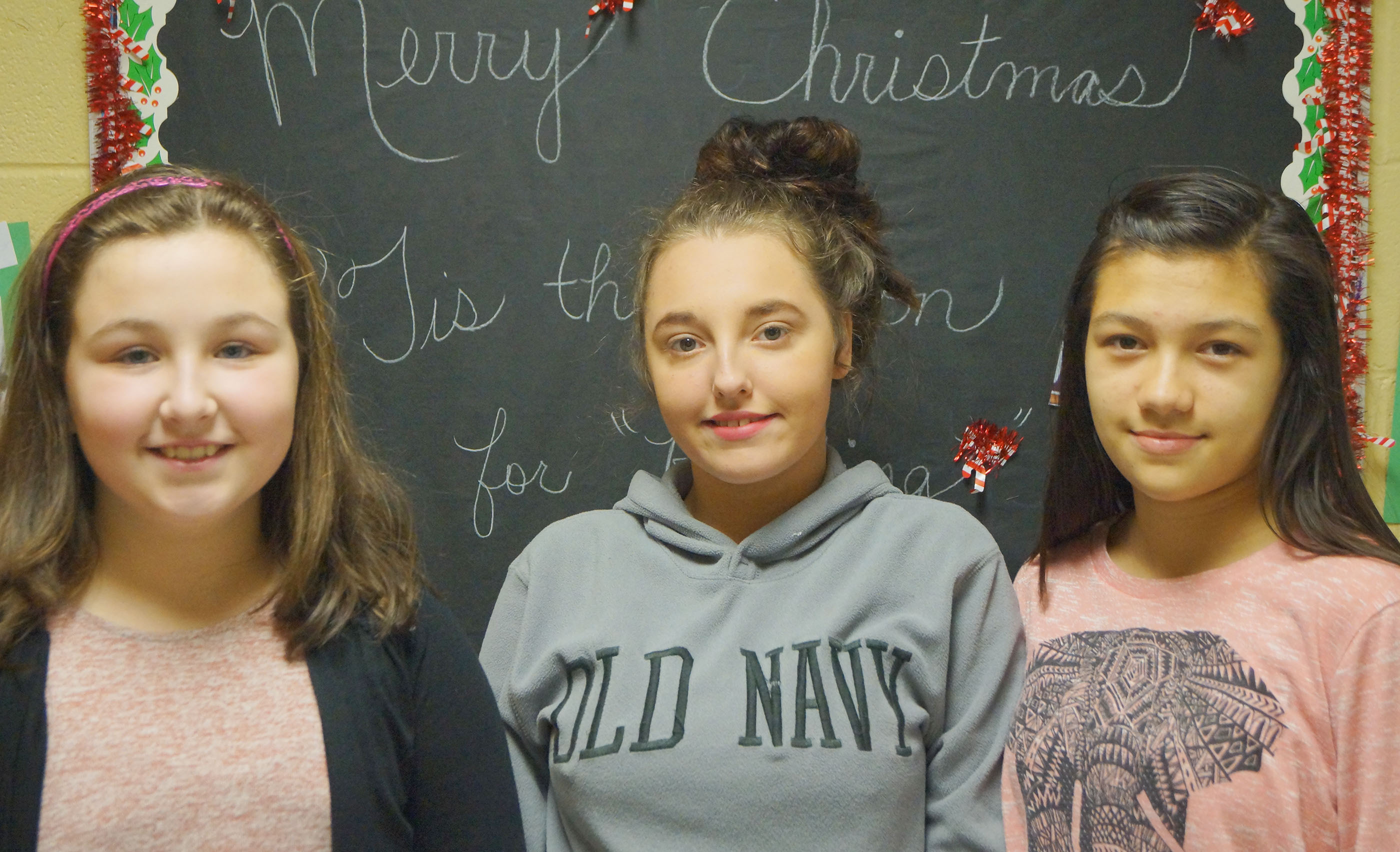 From left are fourth-grader Riley Newton, seventh-grader Haley Luna and eighth-grader Anna Davis. Absent from the photo are fifth-grader Diego Noyola and sixth-grader Bri Hayes.