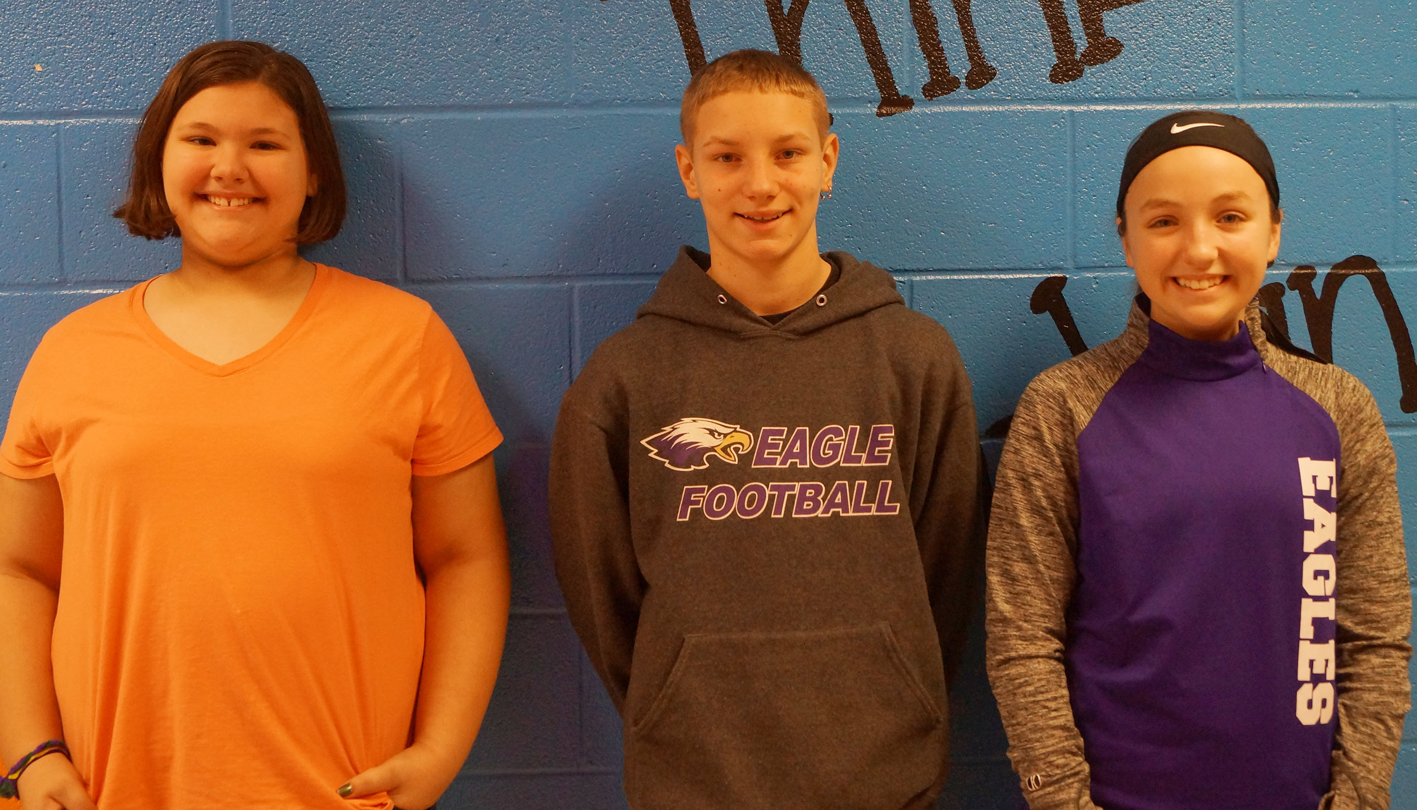 From left are fifth-grader Allie Sumners, sixth-grader Damon Johnson and seventh-grader Lainey Watson. Not pictured are fourth-grader Anna Floyd and eighth-grader Nick Drew.