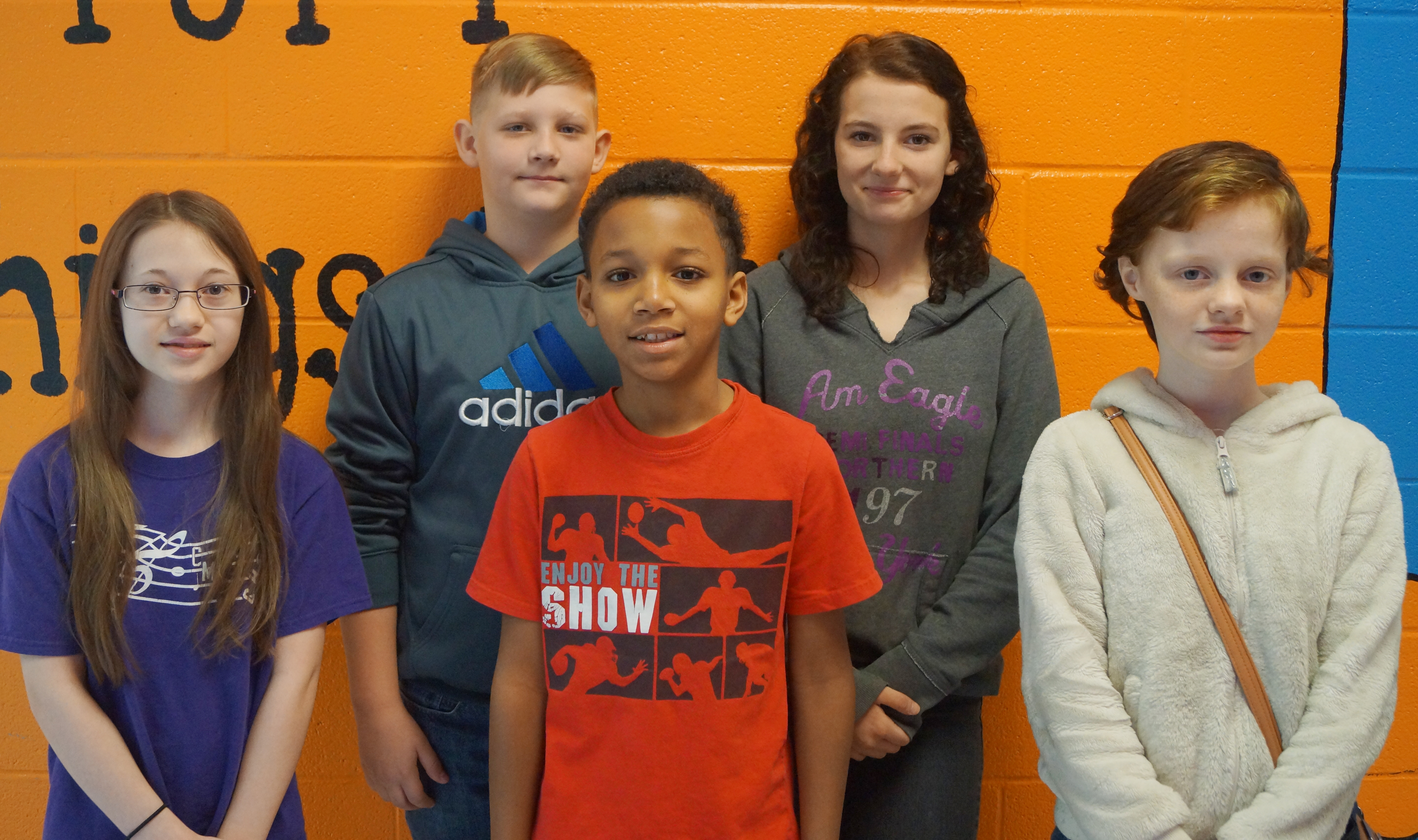 From left are seventh-grader Cailet Clark, fifth-grader Jesse King, fourth-grader J. J. Curley, eighth-grader Natasha Combs and sixth-grader Haley Gutierrez.